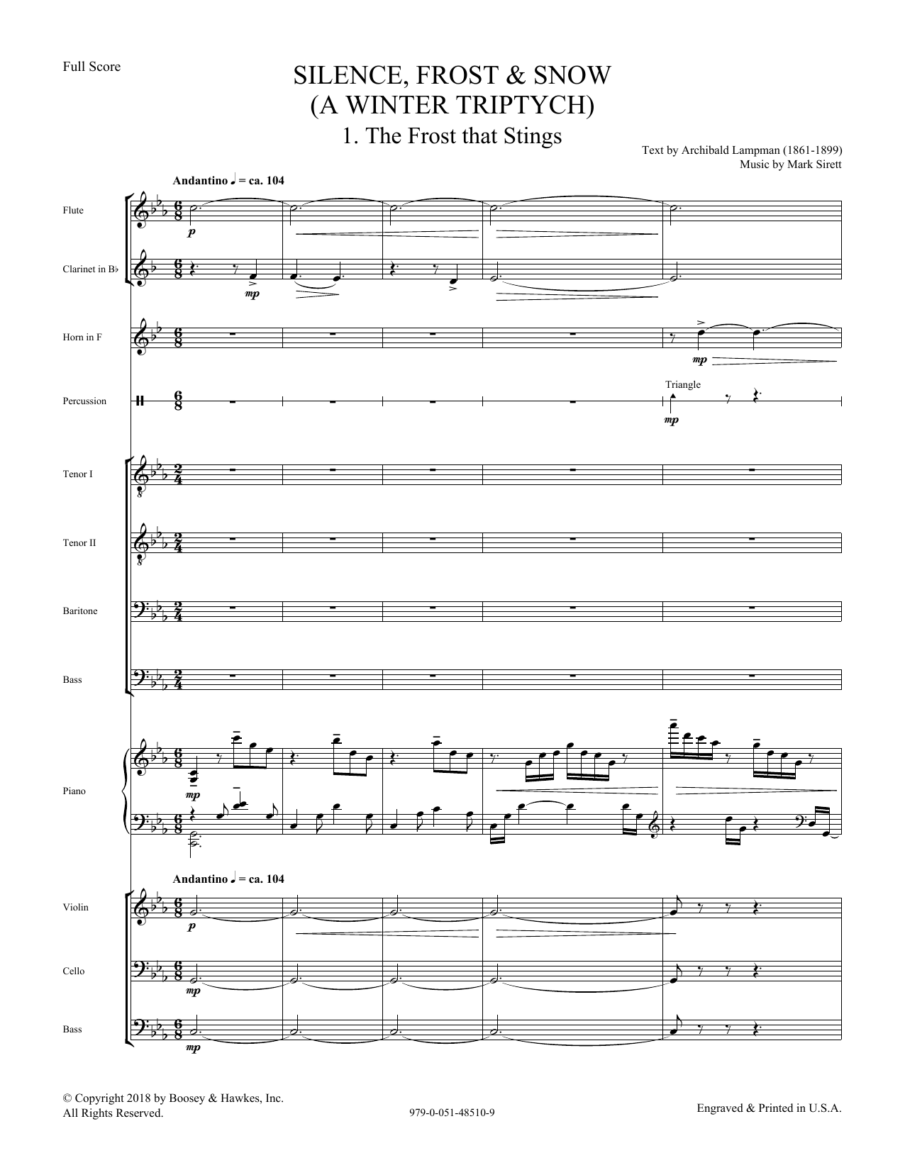 Silence, Frost & Snow (A Winter Triptych) - Score (Choir Instrumental Pak)