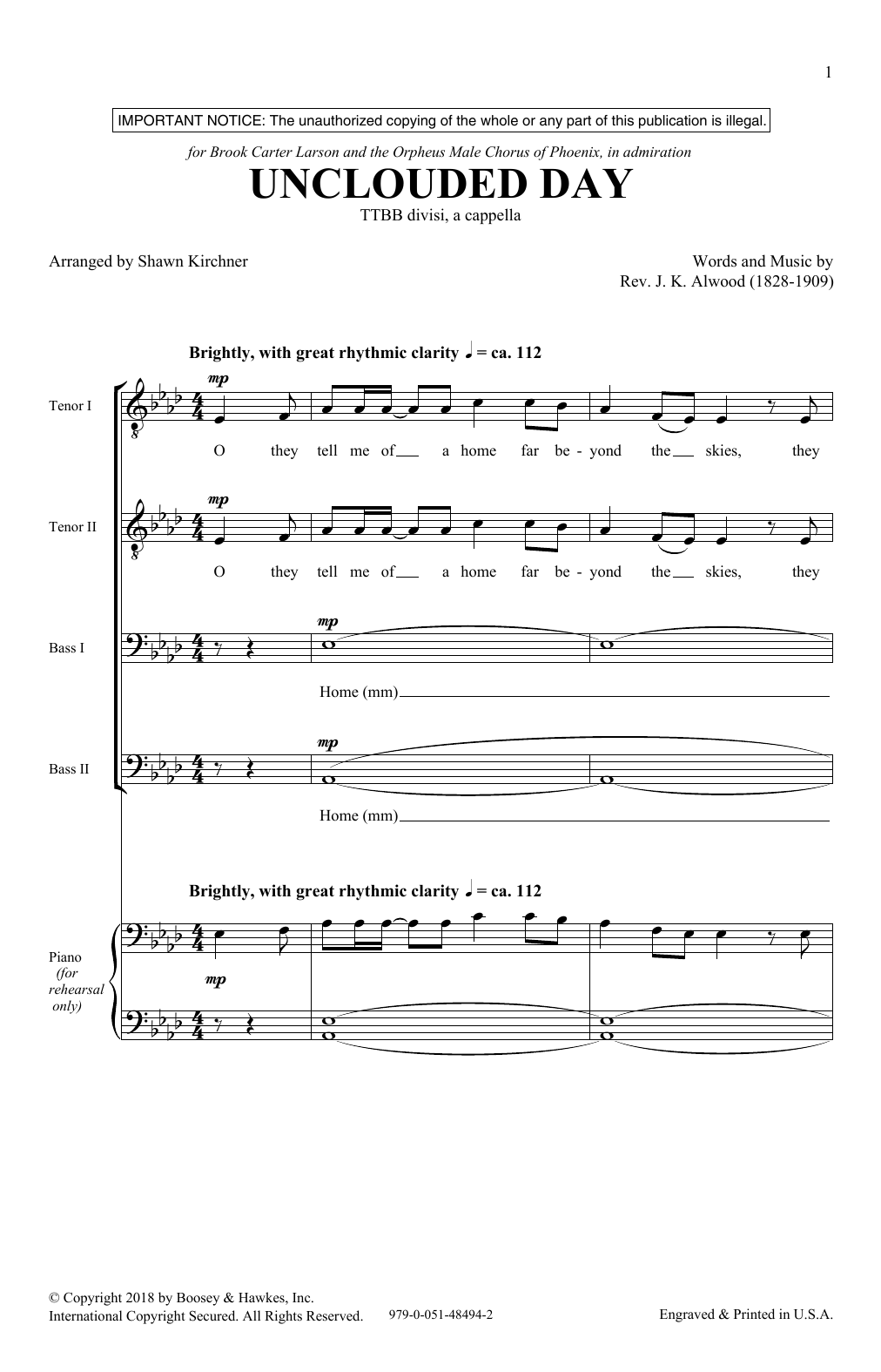 Unclouded Day (from Heavenly Home: Three American Songs) (TTBB Choir)