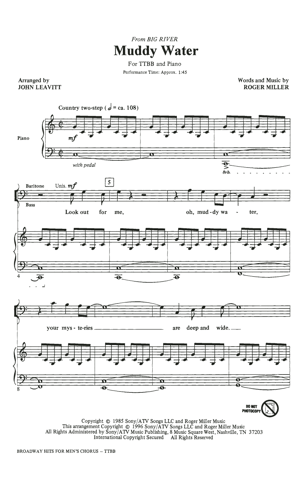 Broadway Hits For Men's Chorus (TTBB Choir)