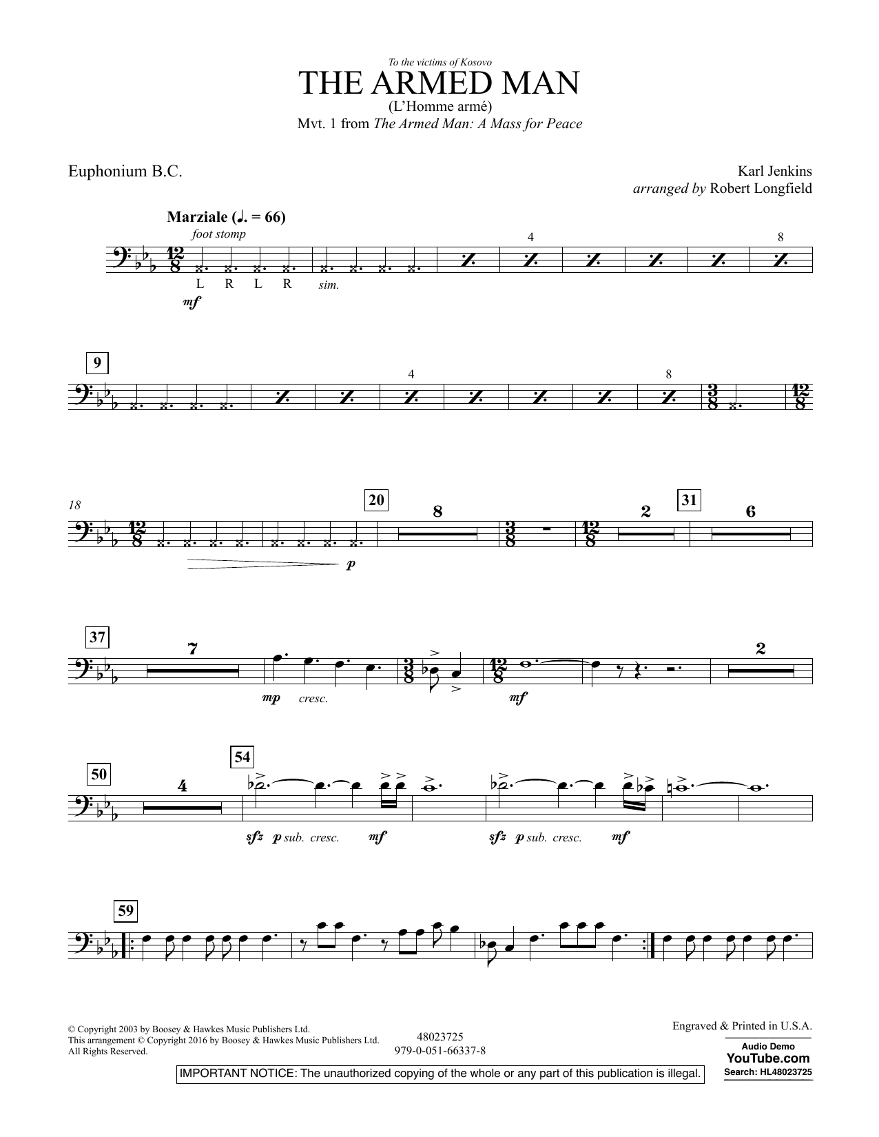 The Armed Man (from A Mass for Peace) (arr. Robert Longfield) - Euphonium B.C. (Concert Band)