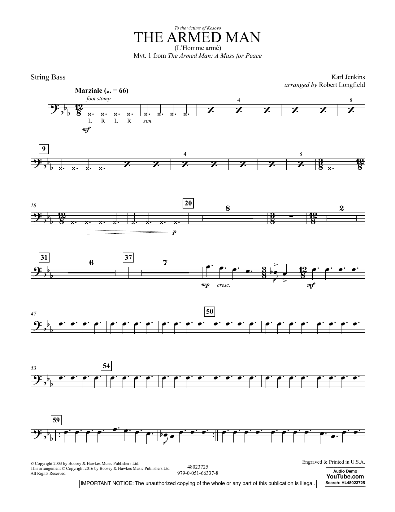 The Armed Man (from A Mass for Peace) (arr. Robert Longfield) - String Bass (Concert Band)