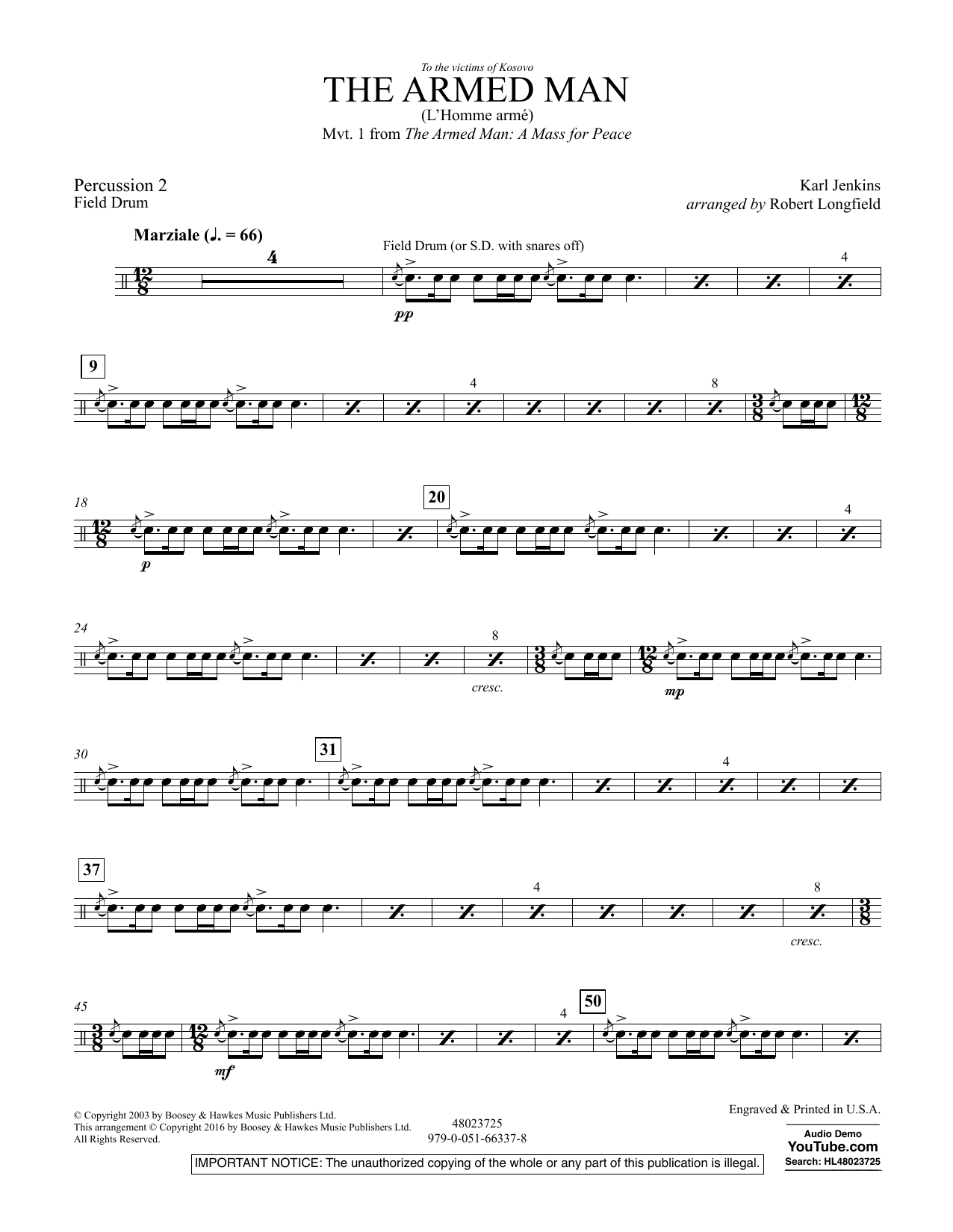 The Armed Man (from A Mass for Peace) (arr. Robert Longfield) - Percussion 2 (Concert Band)