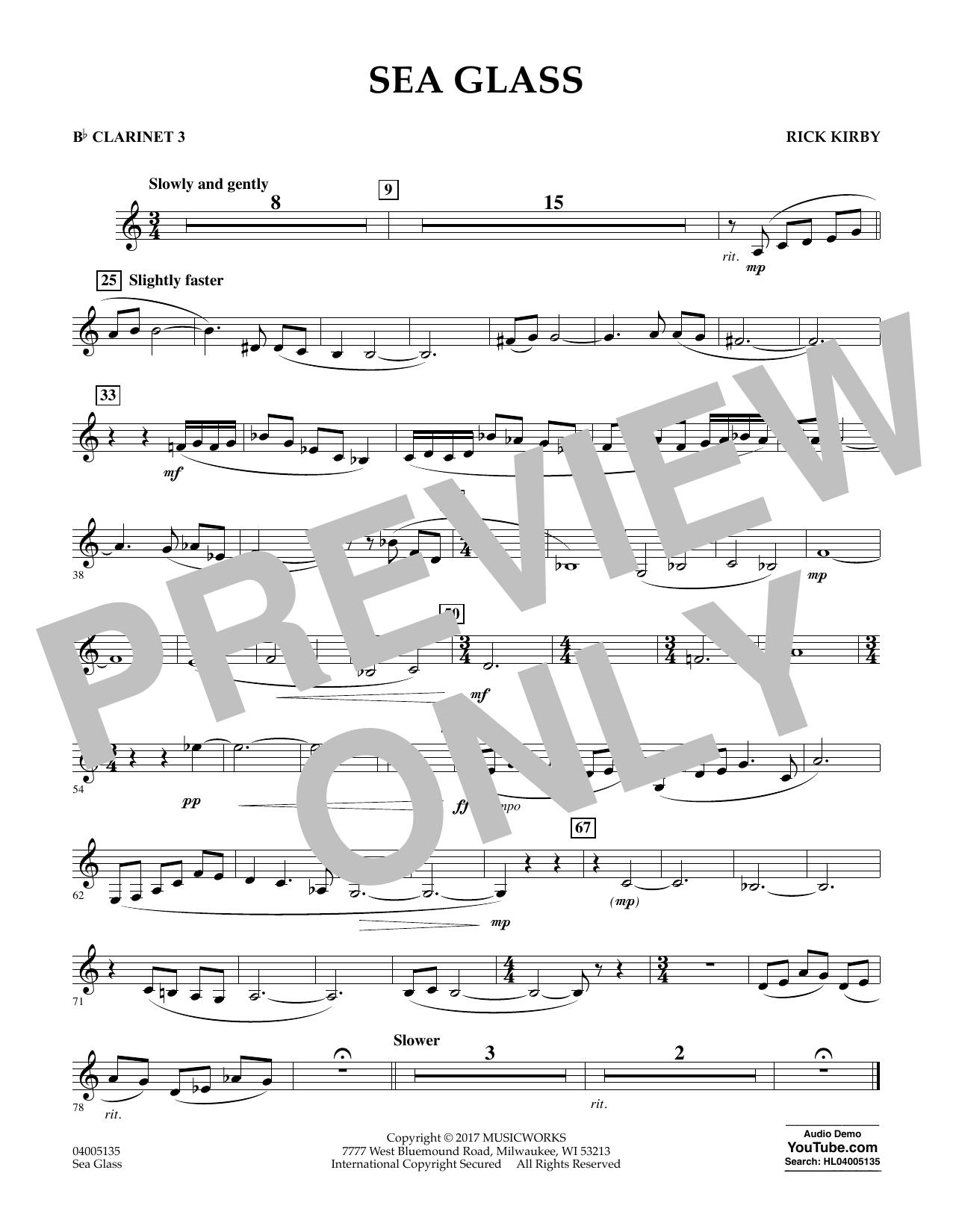 Sea Glass - Bb Clarinet 3 (Concert Band)