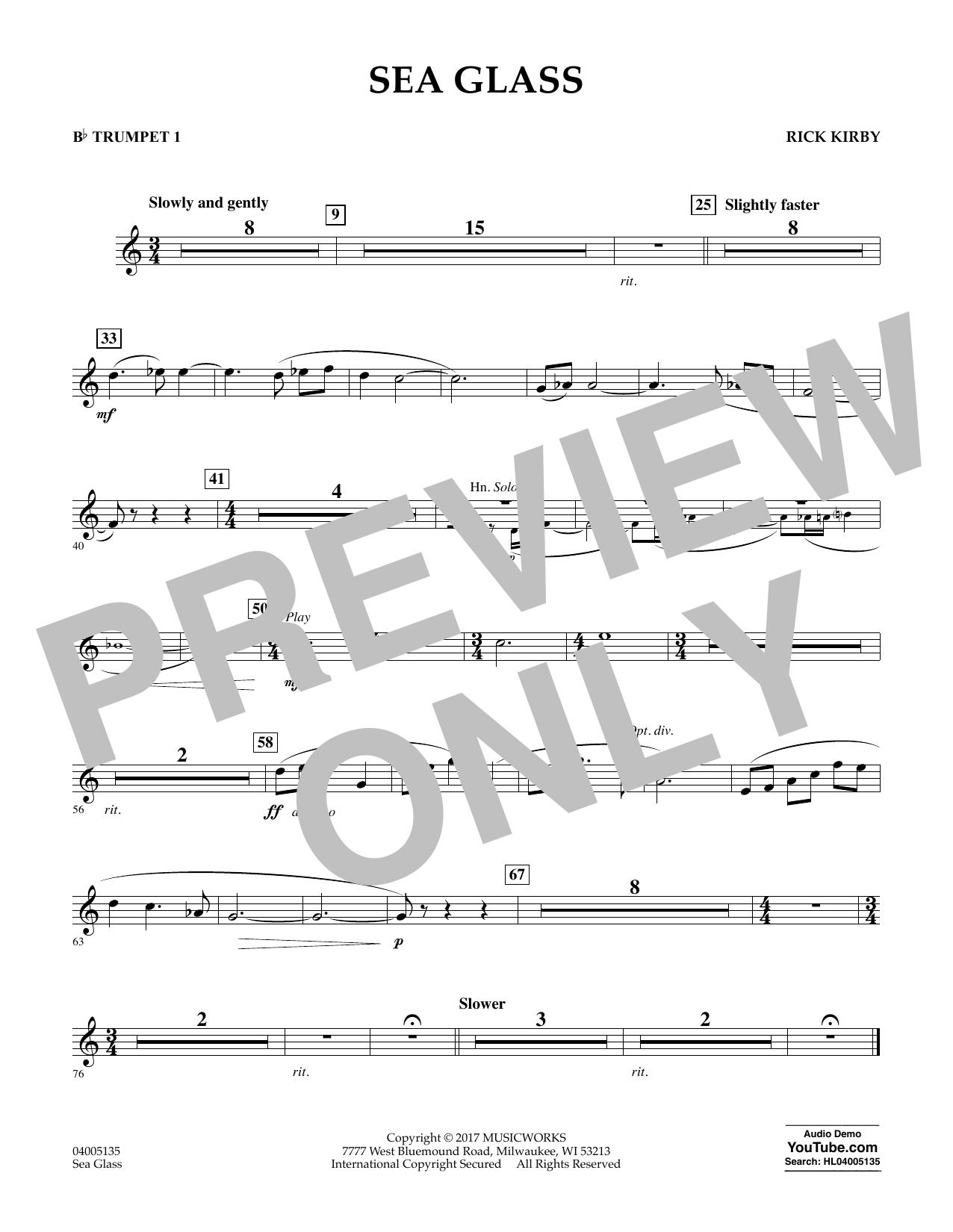 Sea Glass - Bb Trumpet 1 (Concert Band)