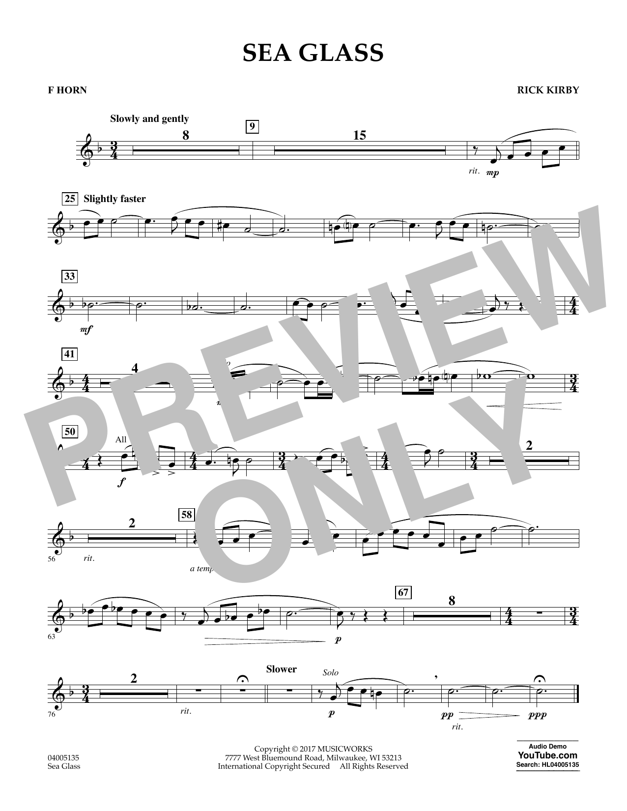 Sea Glass - F Horn (Concert Band)
