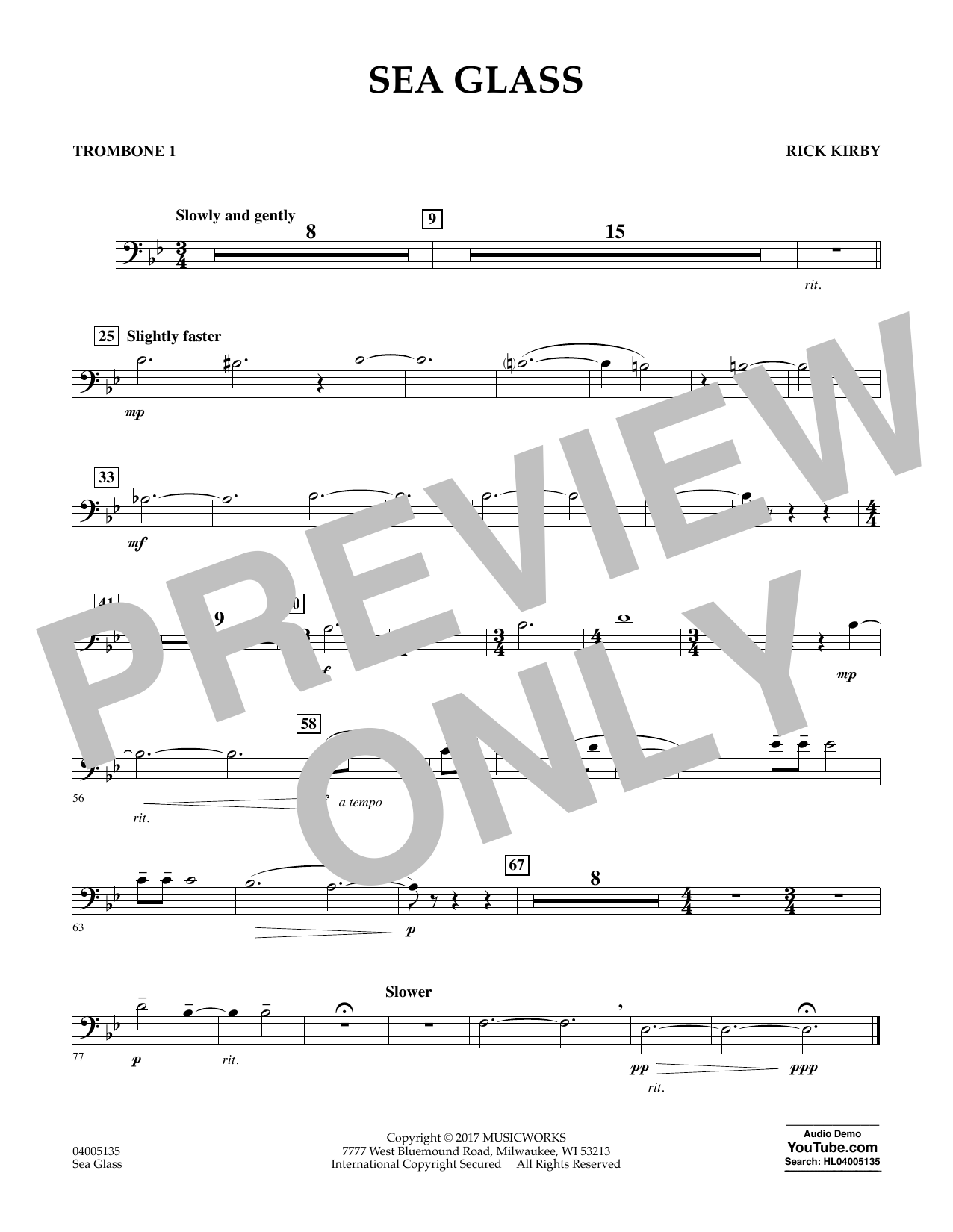 Sea Glass - Trombone 1 (Concert Band)