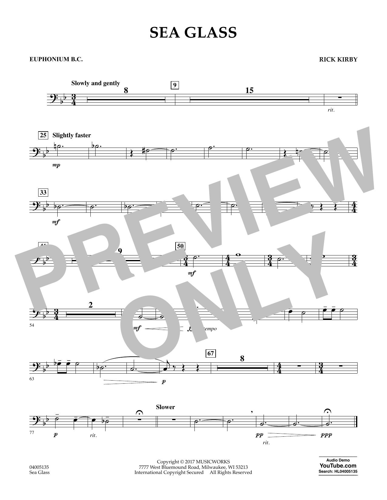 Sea Glass - Euphonium in Bass Clef (Concert Band)