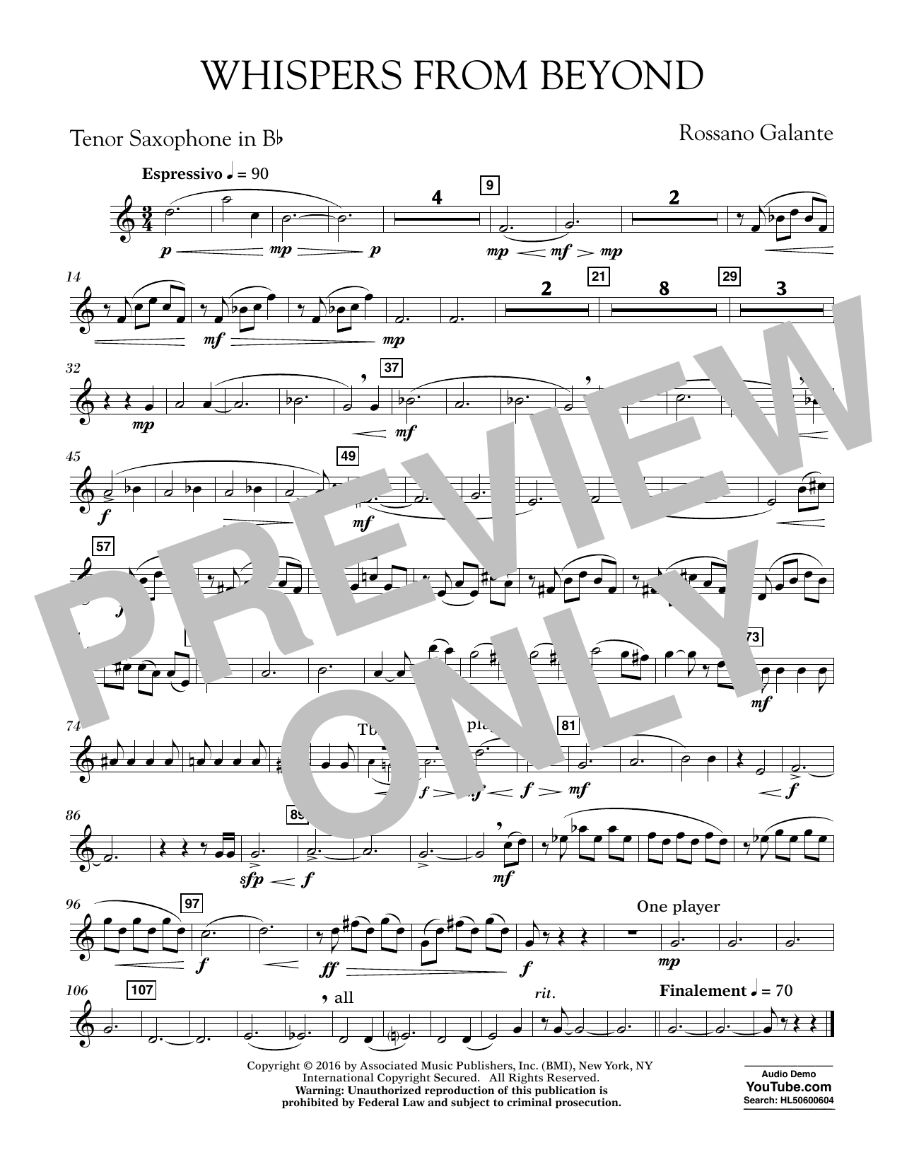 Whispers from Beyond - Bb Tenor Saxophone (Concert Band)