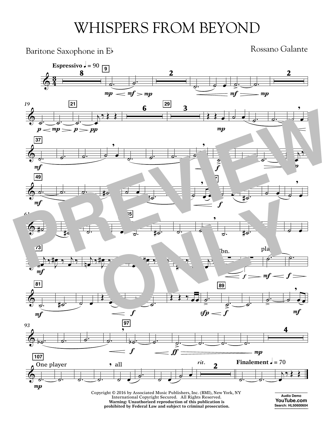 Whispers from Beyond - Eb Baritone Saxophone (Concert Band)