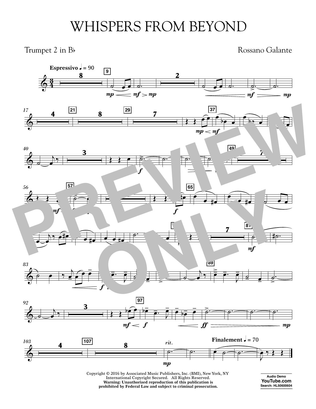 Whispers from Beyond - Bb Trumpet 2 (Concert Band)