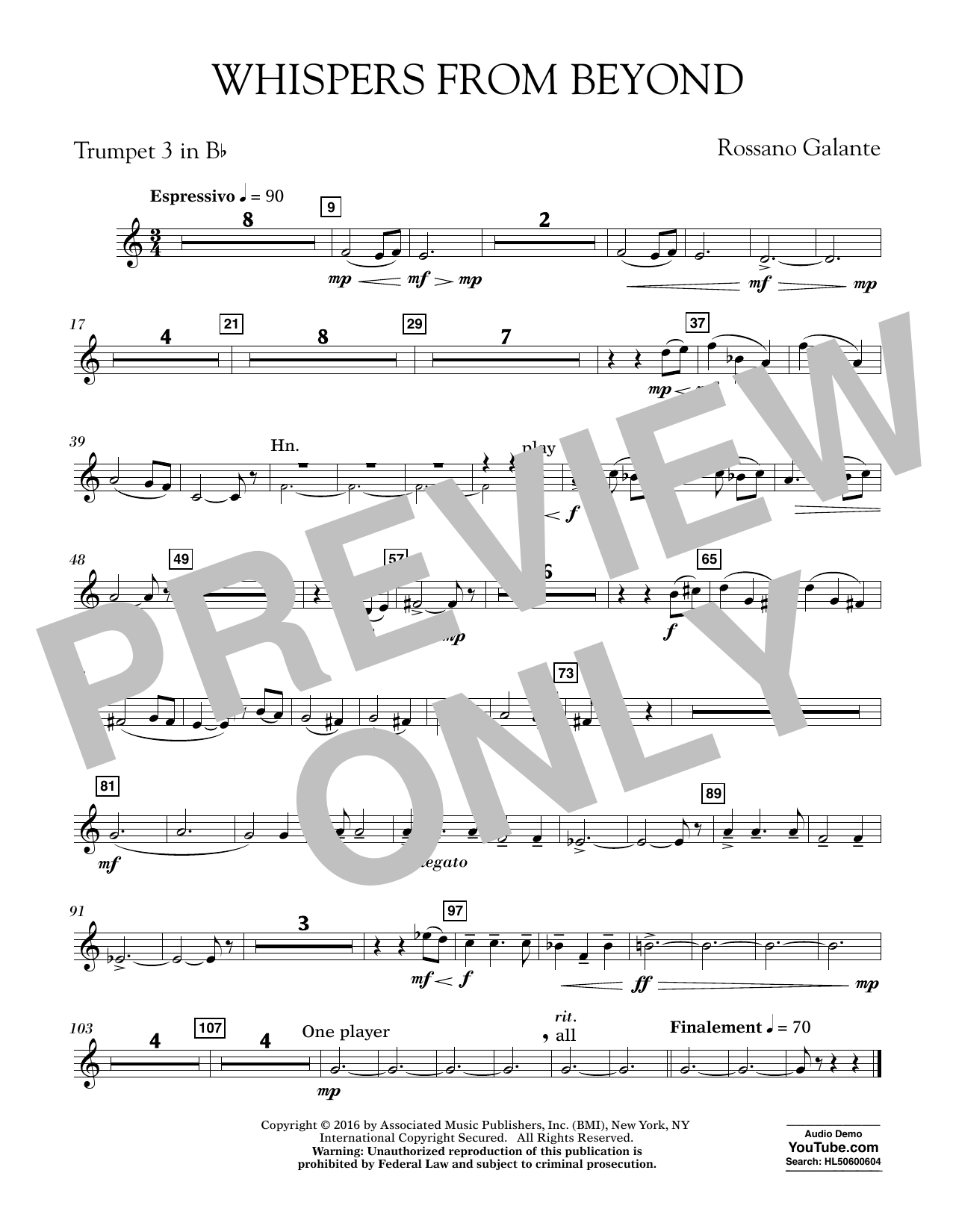 Whispers from Beyond - Bb Trumpet 3 (Concert Band)