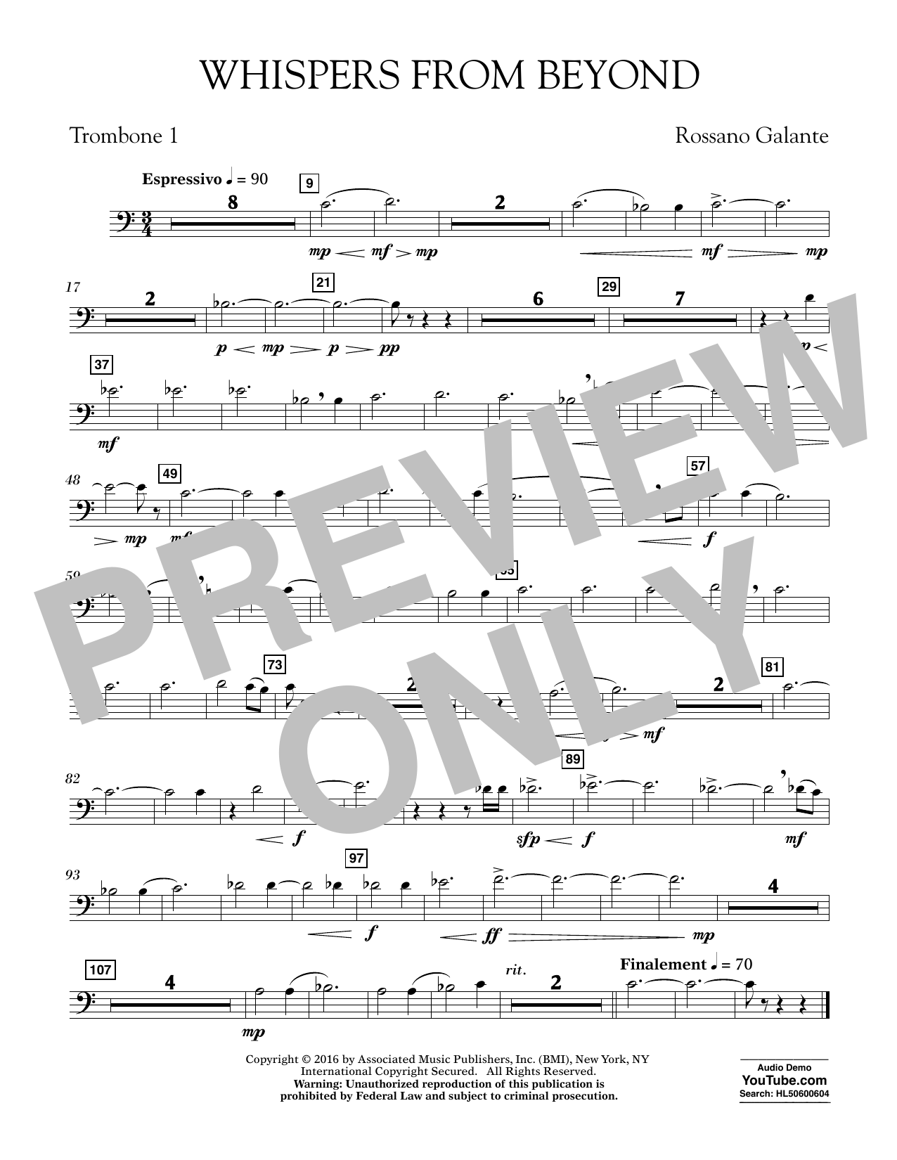 Whispers from Beyond - Trombone 1 (Concert Band)