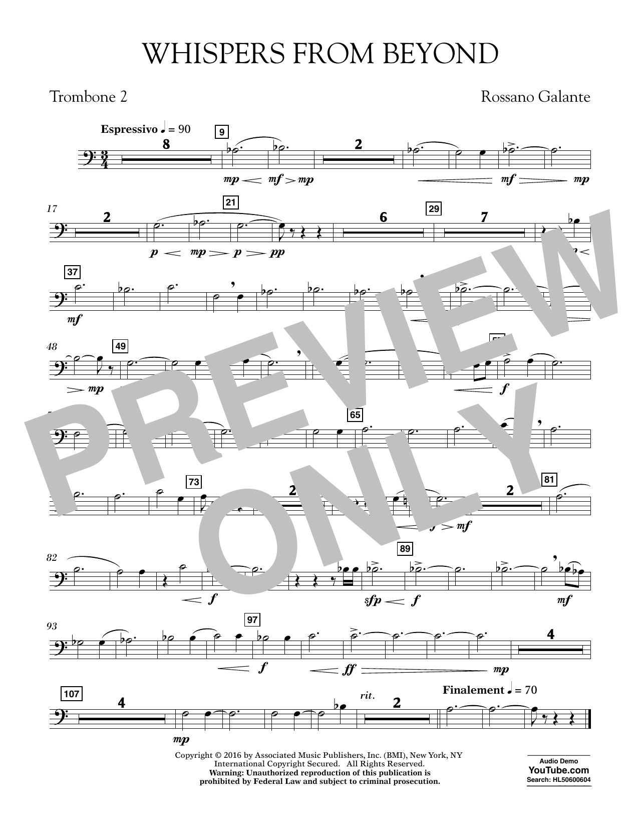 Whispers from Beyond - Trombone 2 (Concert Band)