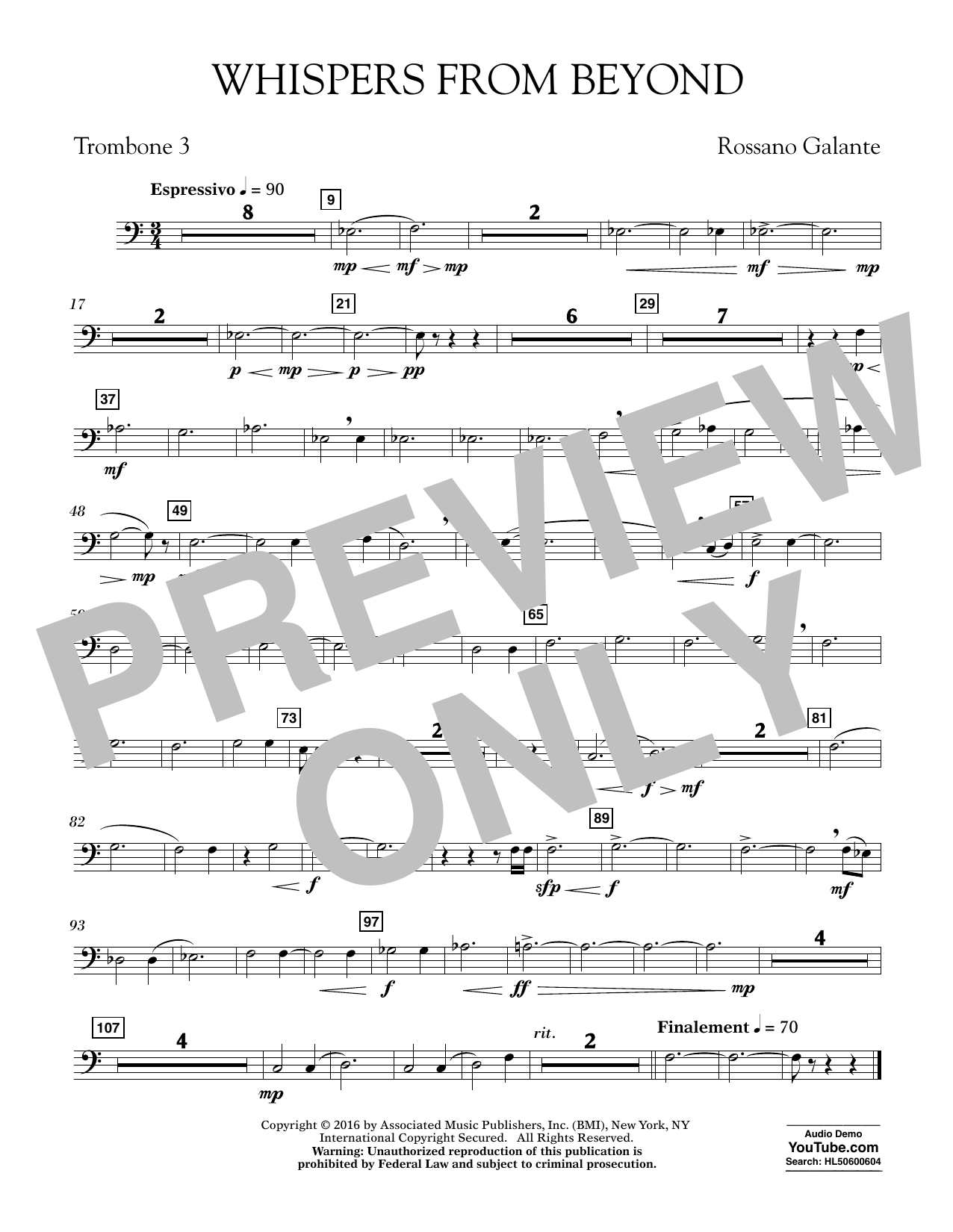 Whispers from Beyond - Trombone 3 (Concert Band)