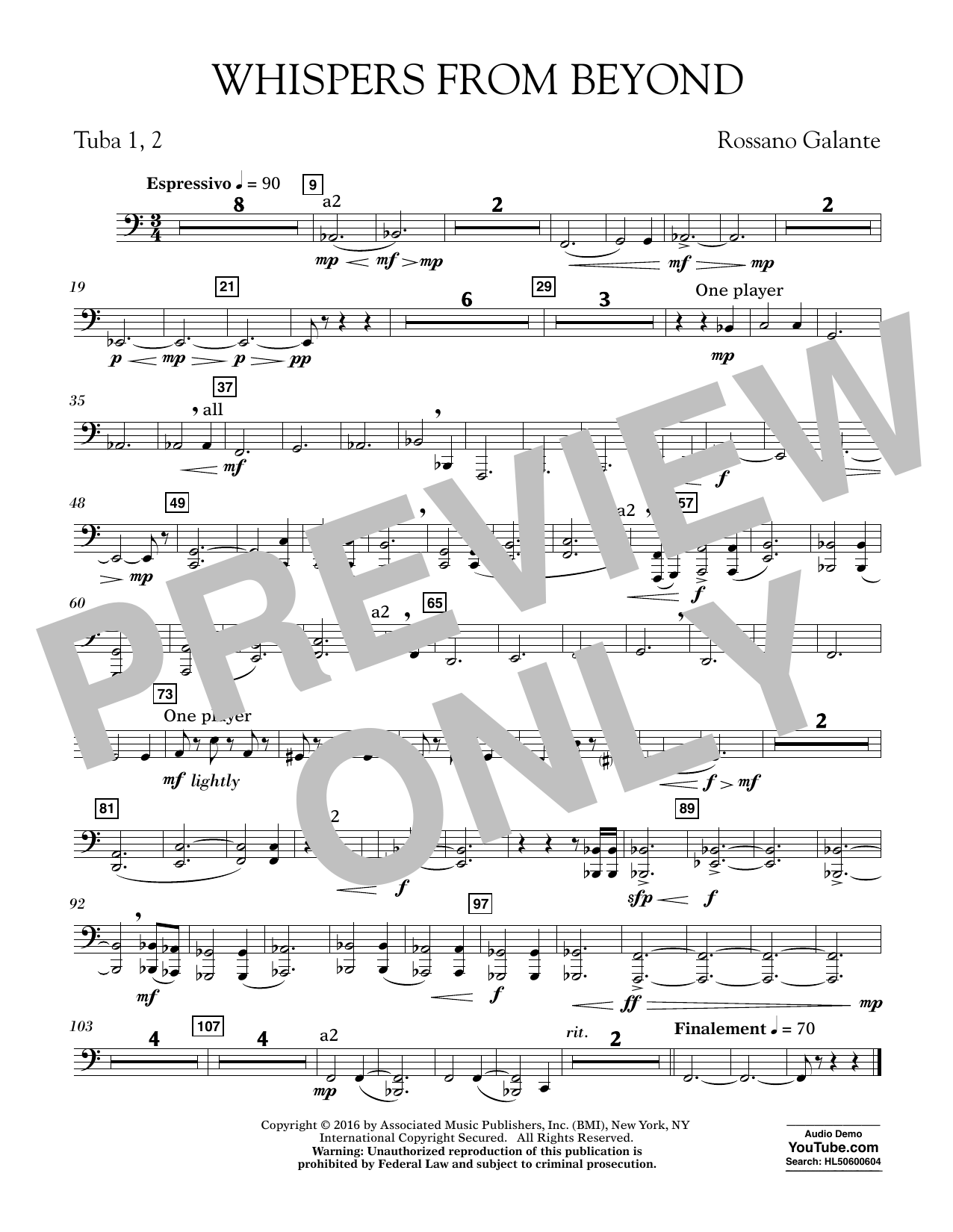 Whispers from Beyond - Tuba 1 & 2 (Concert Band)