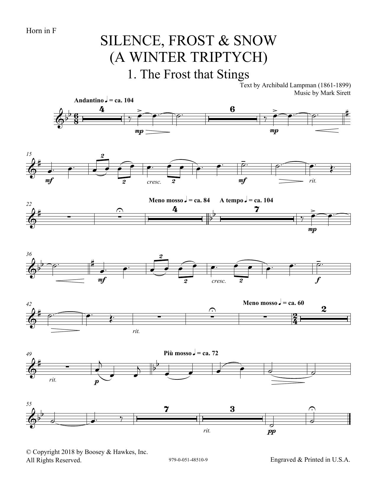 Silence, Frost & Snow (A Winter Triptych) - F Horn (Choir Instrumental Pak)