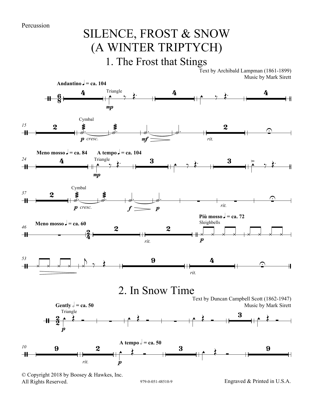 Silence, Frost & Snow (A Winter Triptych) - Percussion (Choir Instrumental Pak)