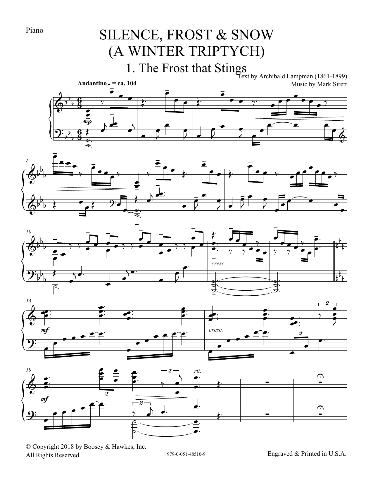 Silence, Frost & Snow (A Winter Triptych) - Piano (Choir Instrumental Pak)
