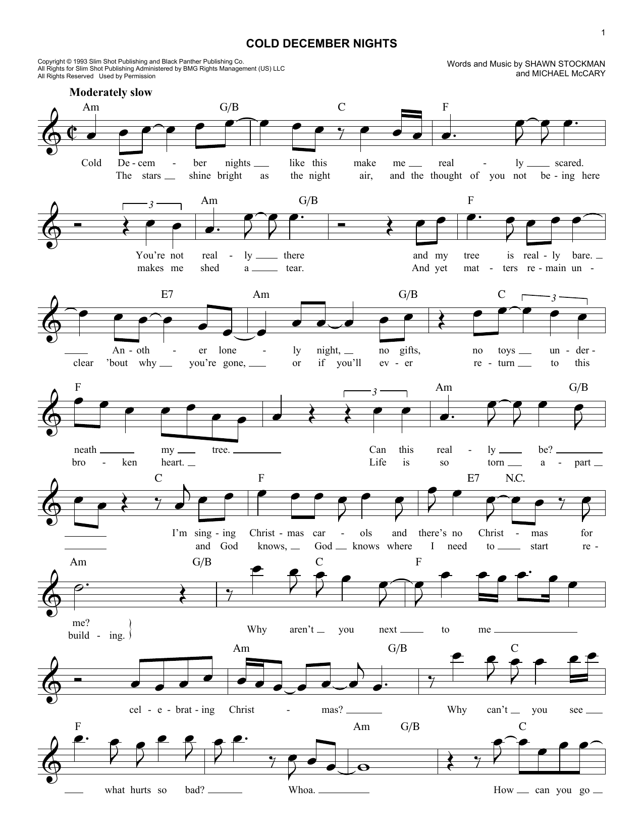 Cold December Nights (Lead Sheet / Fake Book)