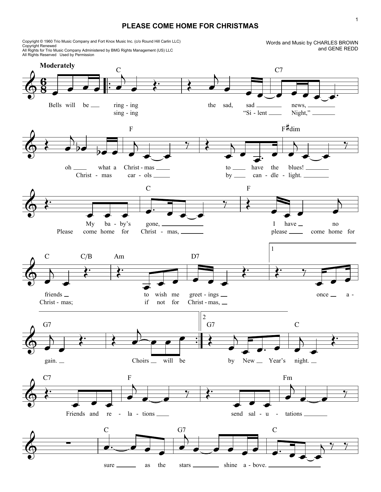 Please Come Home For Christmas Noten   Charles Brown   Leadsheet ...