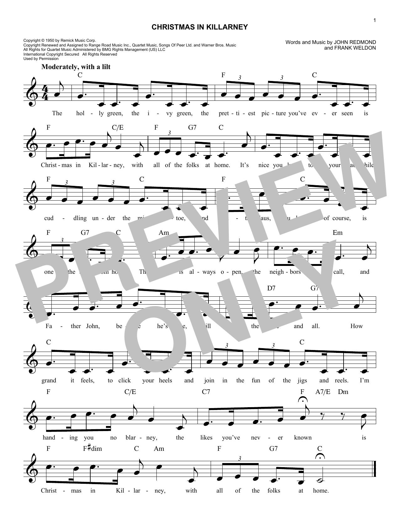 Christmas In Killarney (Melody Line, Lyrics & Chords)
