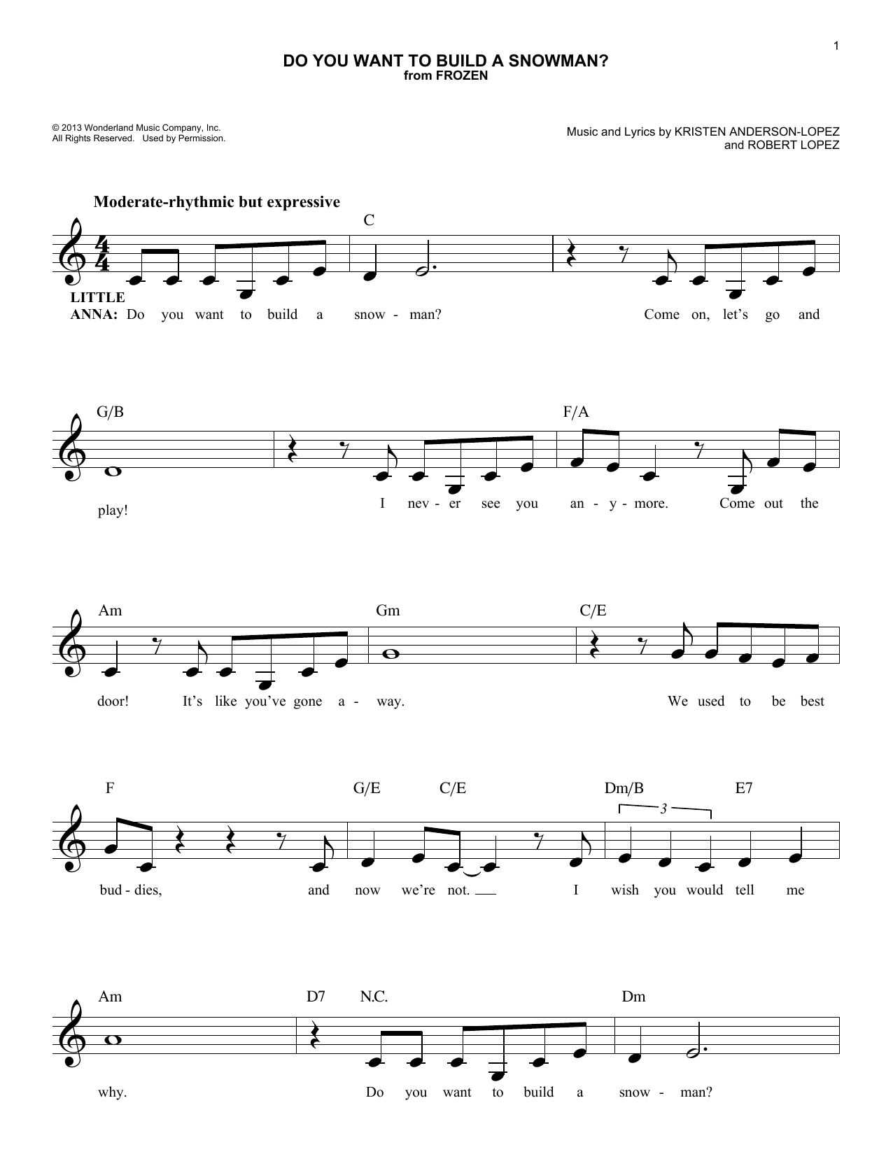 Do You Want To Build A Snowman? (Melody Line, Lyrics & Chords)