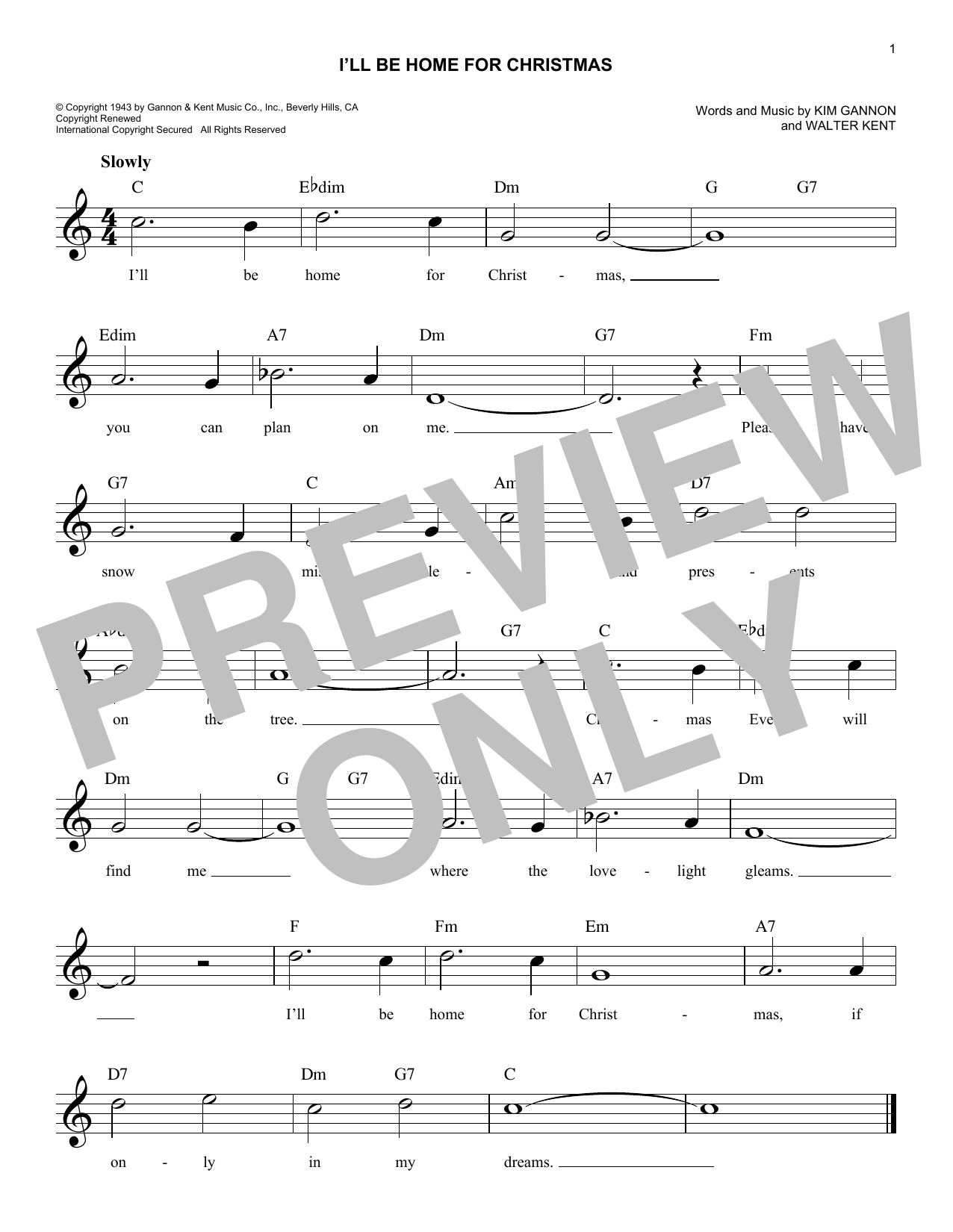I\'ll Be Home For Christmas Sheet Music | Kim Gannon | Melody Line ...