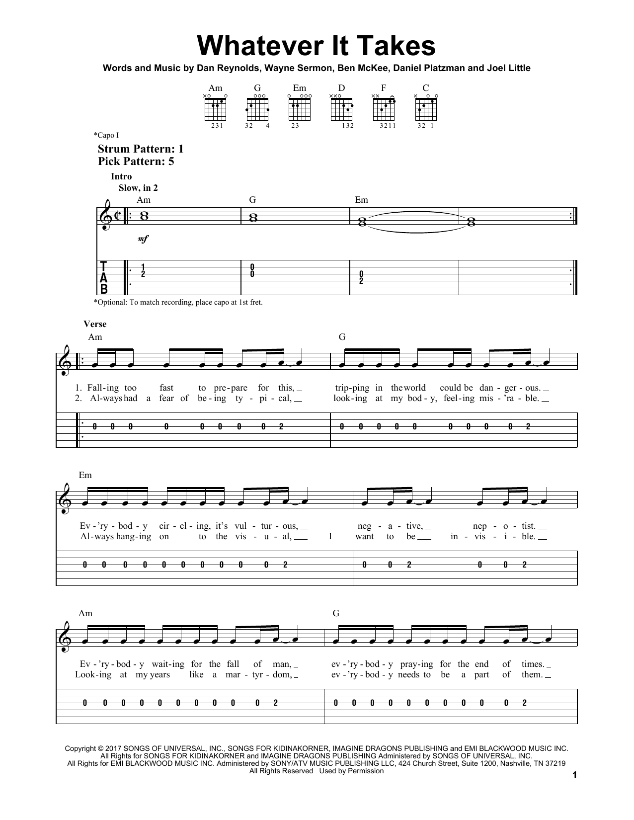 Whatever It Takes By Imagine Dragons Easy Guitar Tab Guitar