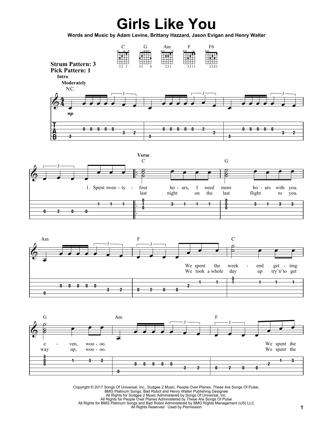 girls like you by maroon 5 easy guitar tab guitar instructor. Black Bedroom Furniture Sets. Home Design Ideas
