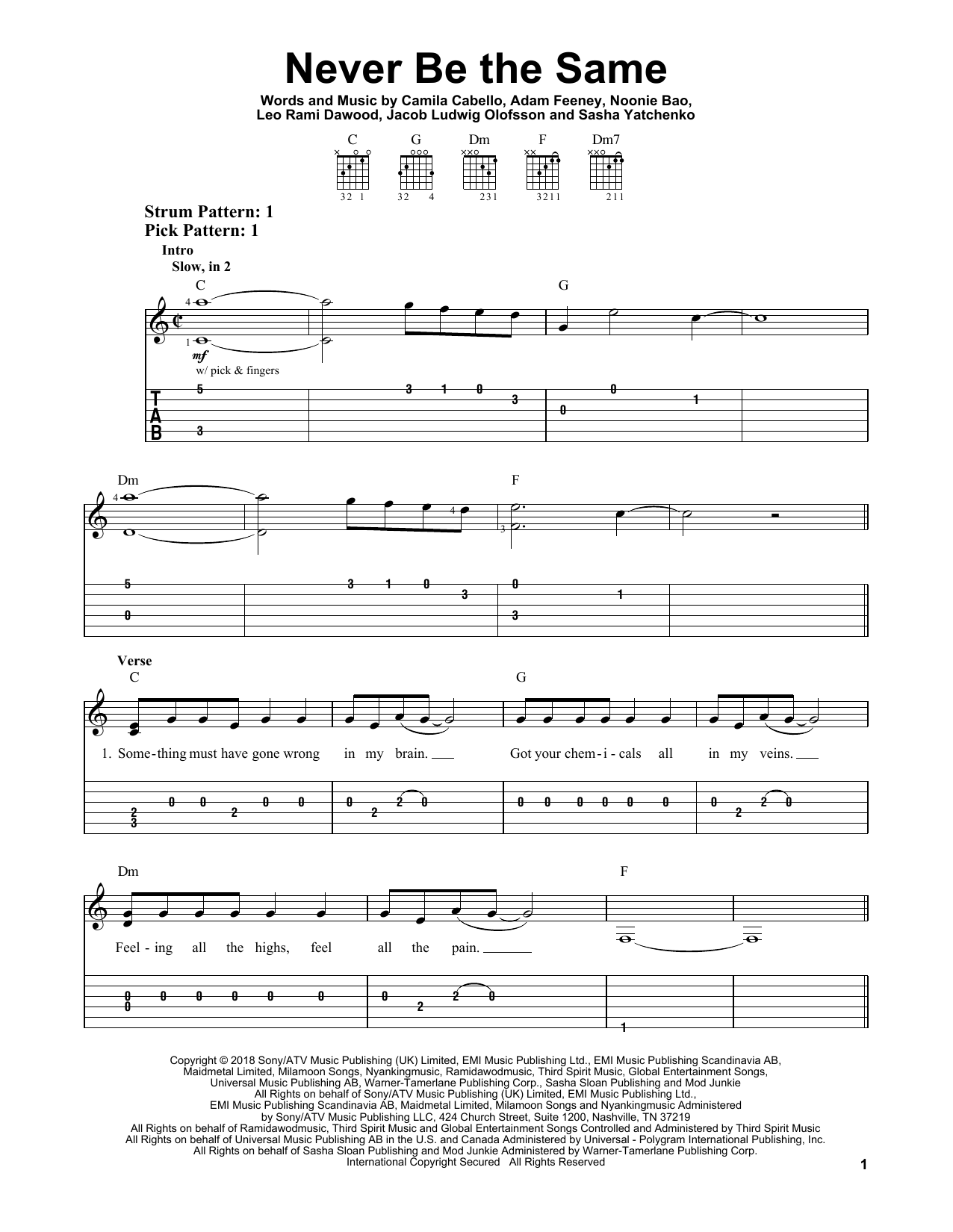 Never Be The Same (Easy Guitar Tab)