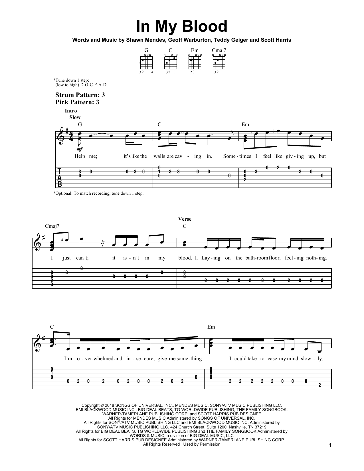 In My Blood (Easy Guitar Tab)