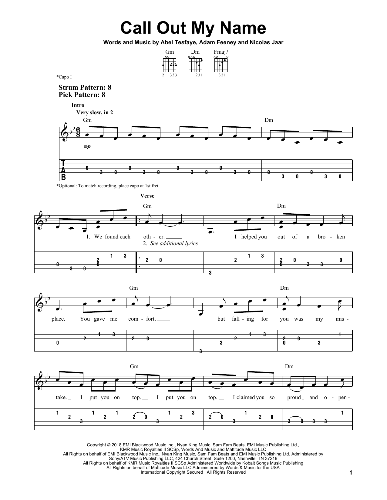 Call Out My Name (Easy Guitar Tab)