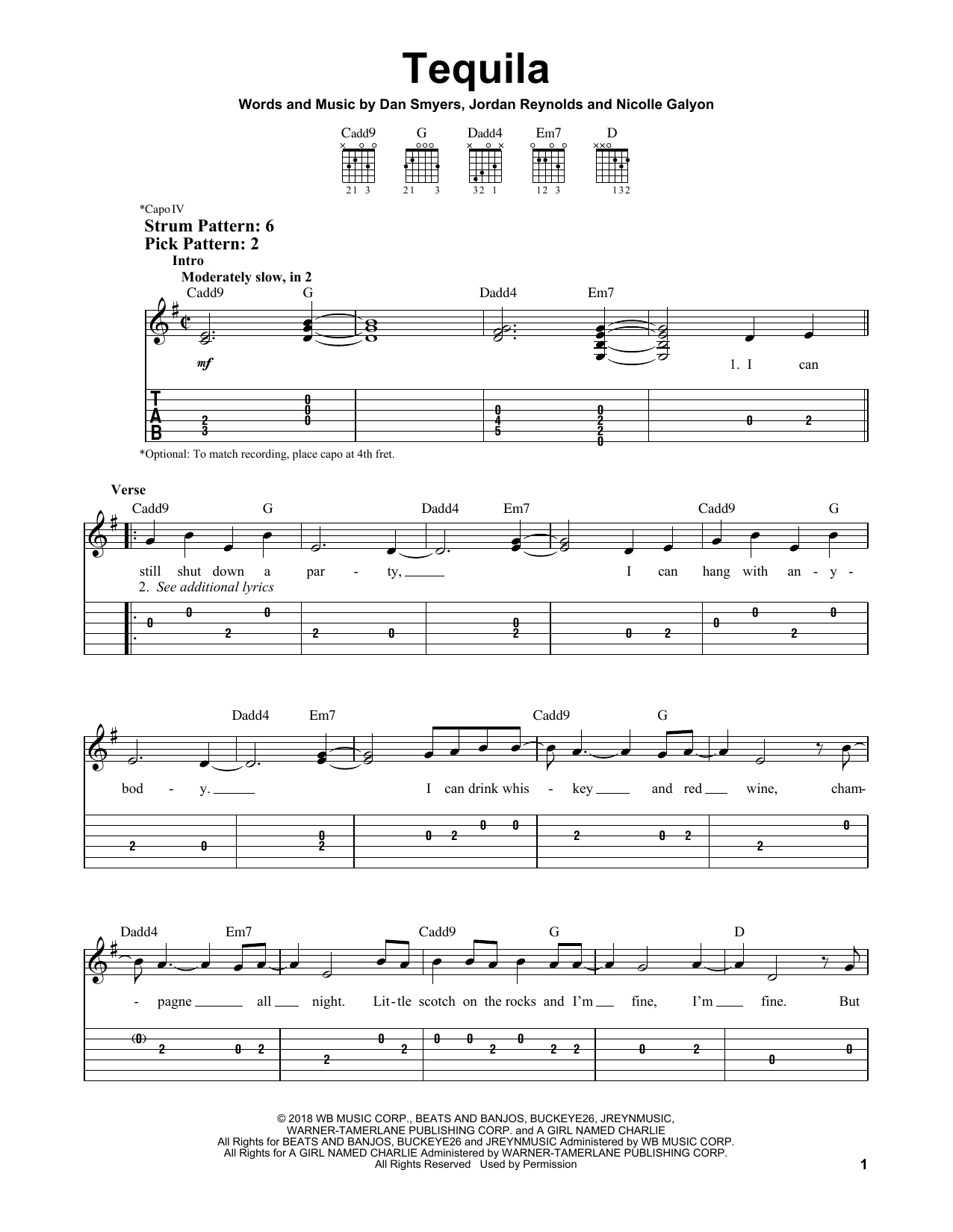 Tequila Print Sheet Music Now