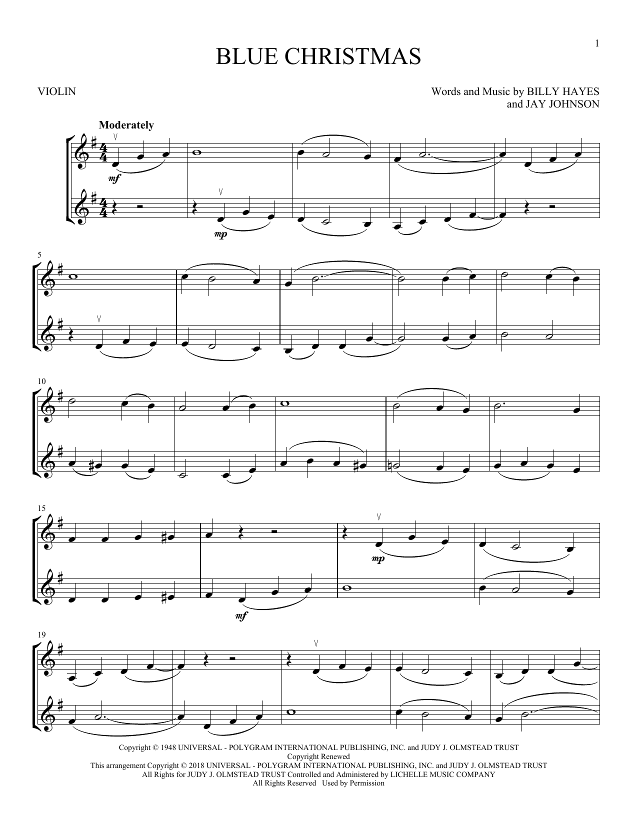 Blue Christmas (Violin Duet)