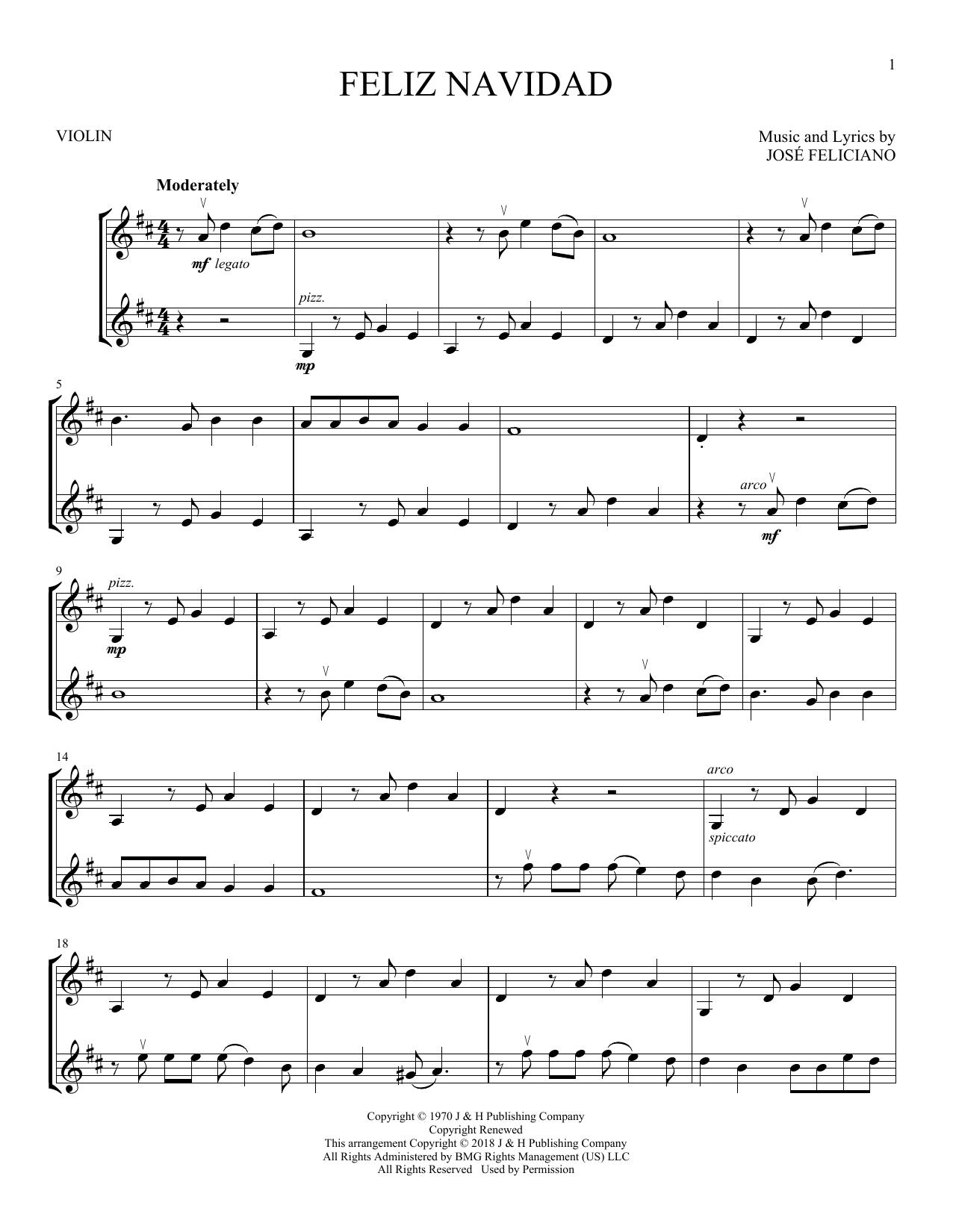 feliz navidad violin duet print sheet music now feliz navidad violin duet print sheet music now