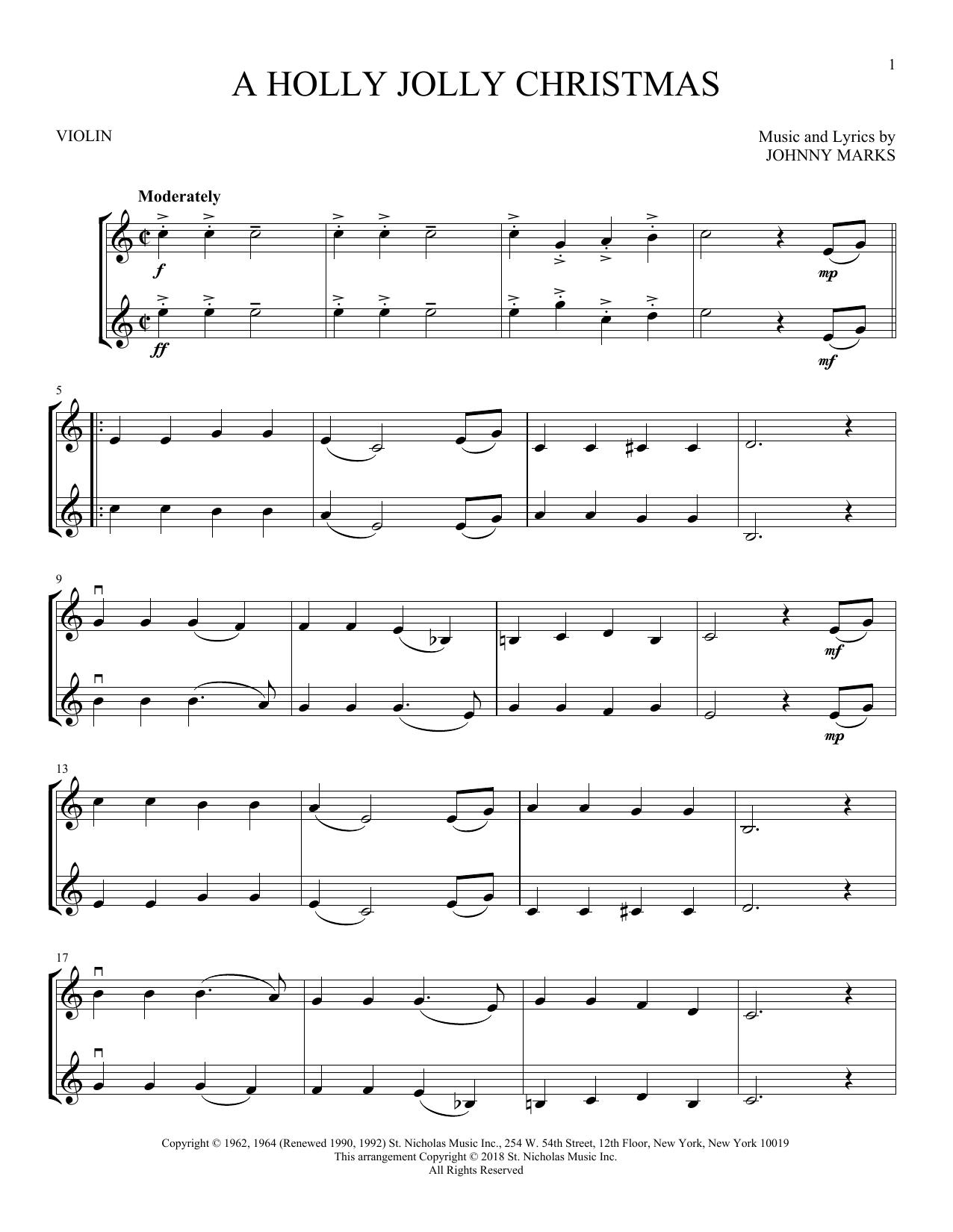 A Holly Jolly Christmas (Violin Duet)