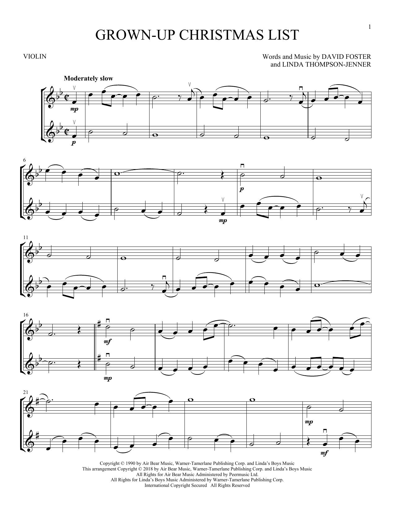 Grown-Up Christmas List (Violin Duet)