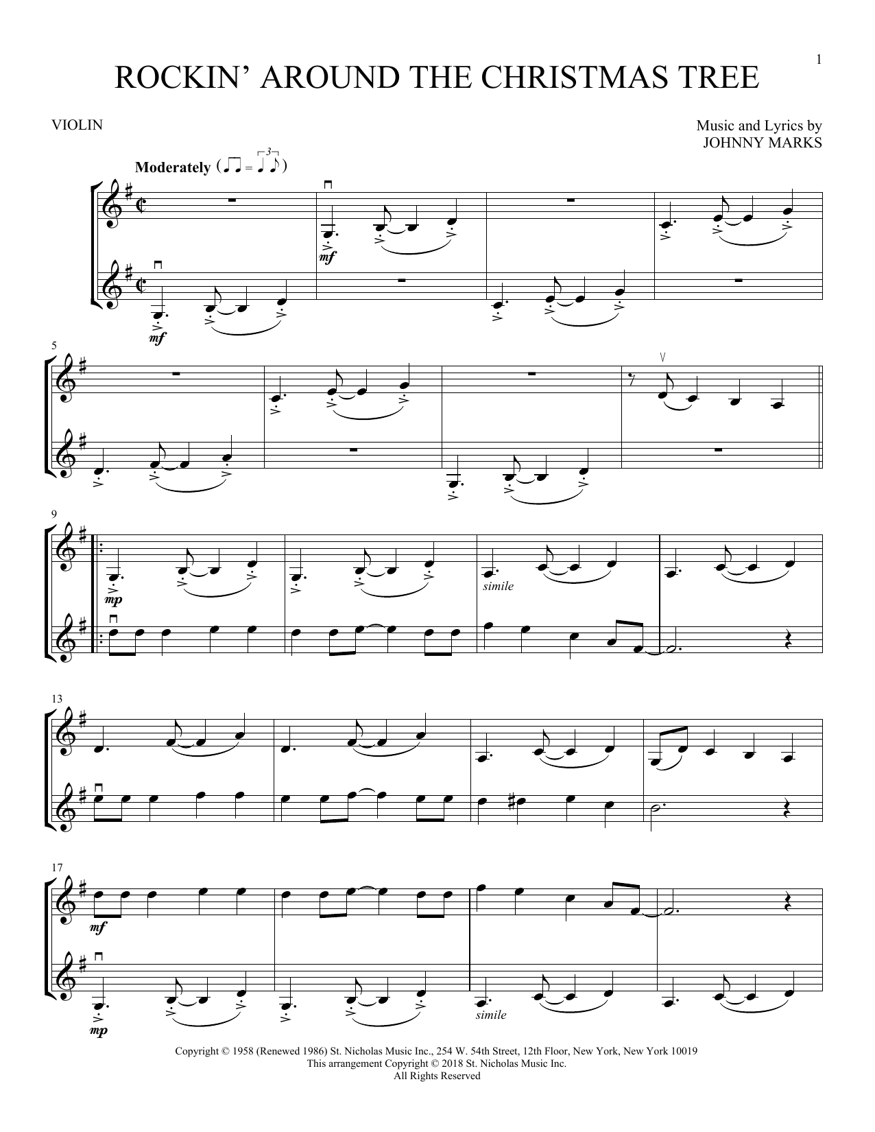 Rockin' Around The Christmas Tree Sheet Music | Johnny ...