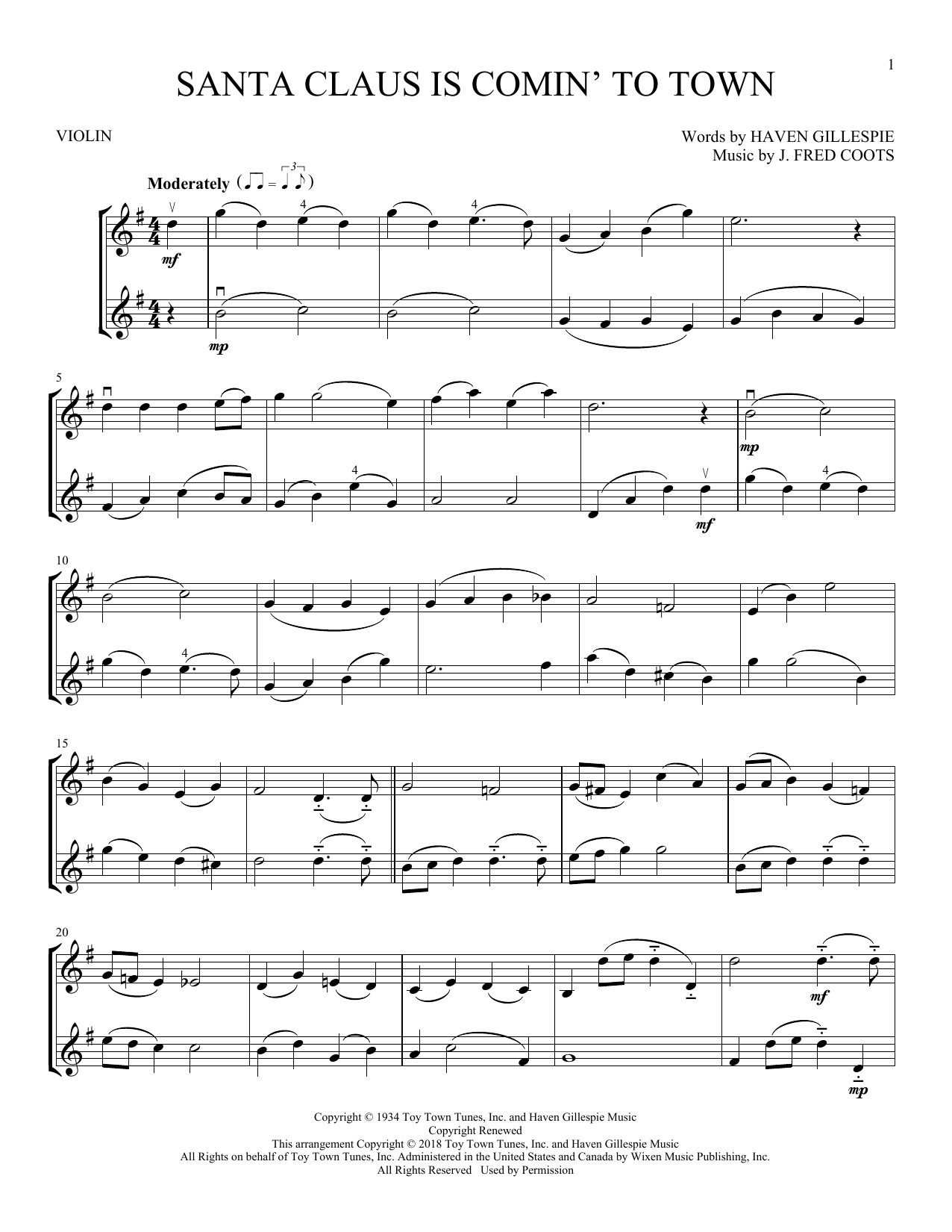 Santa Claus Is Comin' To Town (Violin Duet)