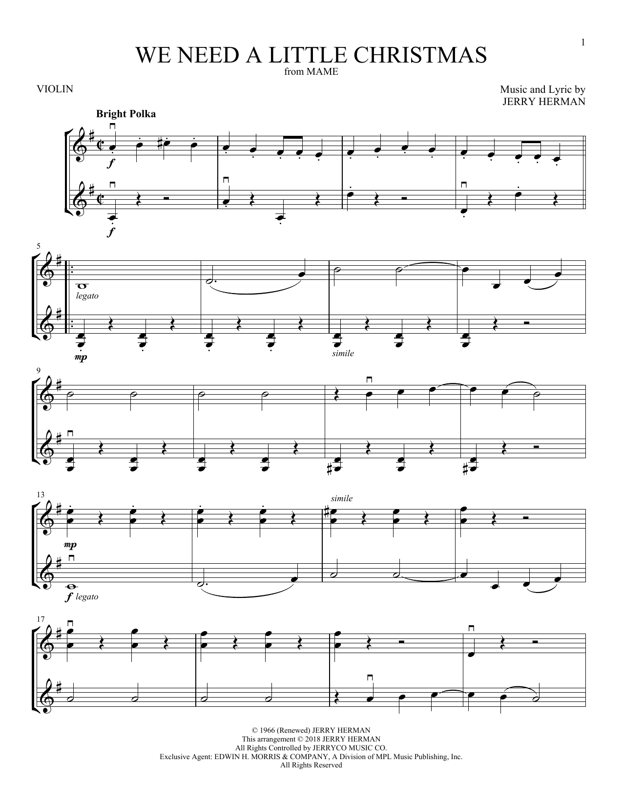 Need A Little Christmas.We Need A Little Christmas Violin Duet Print Sheet Music Now