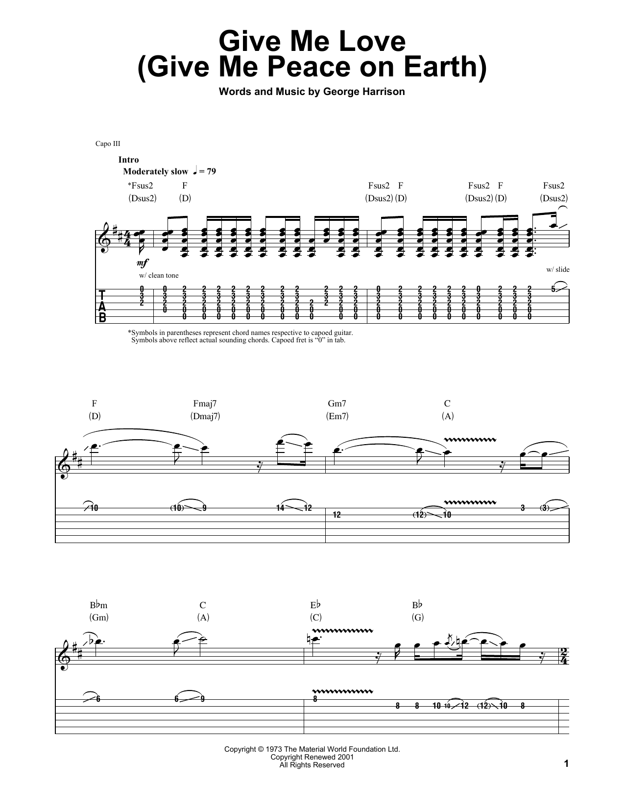 Give Me Love Give Me Peace On Earth By George Harrison Guitar