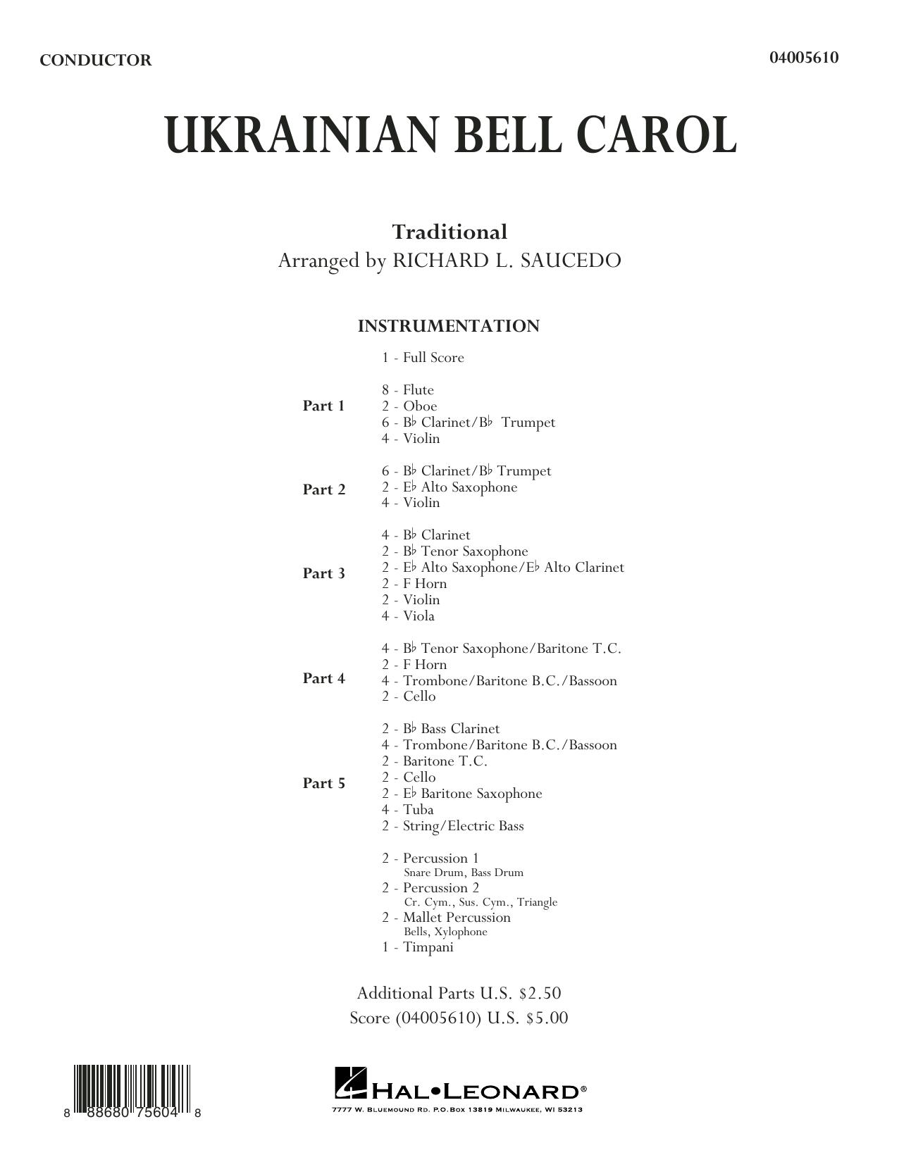 Ukrainian Bell Carol - Conductor Score (Full Score) (Concert Band)