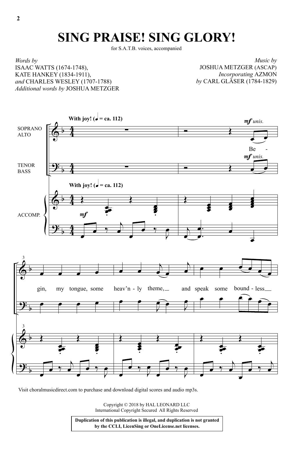 Sing Praise! Sing Glory! (SATB Choir)