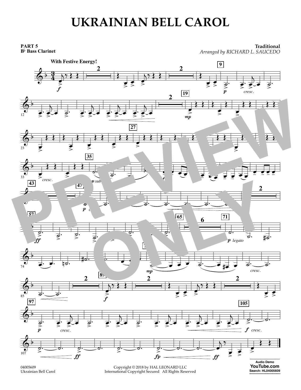 Ukrainian Bell Carol - Pt.5 - Bb Bass Clarinet (Concert Band)