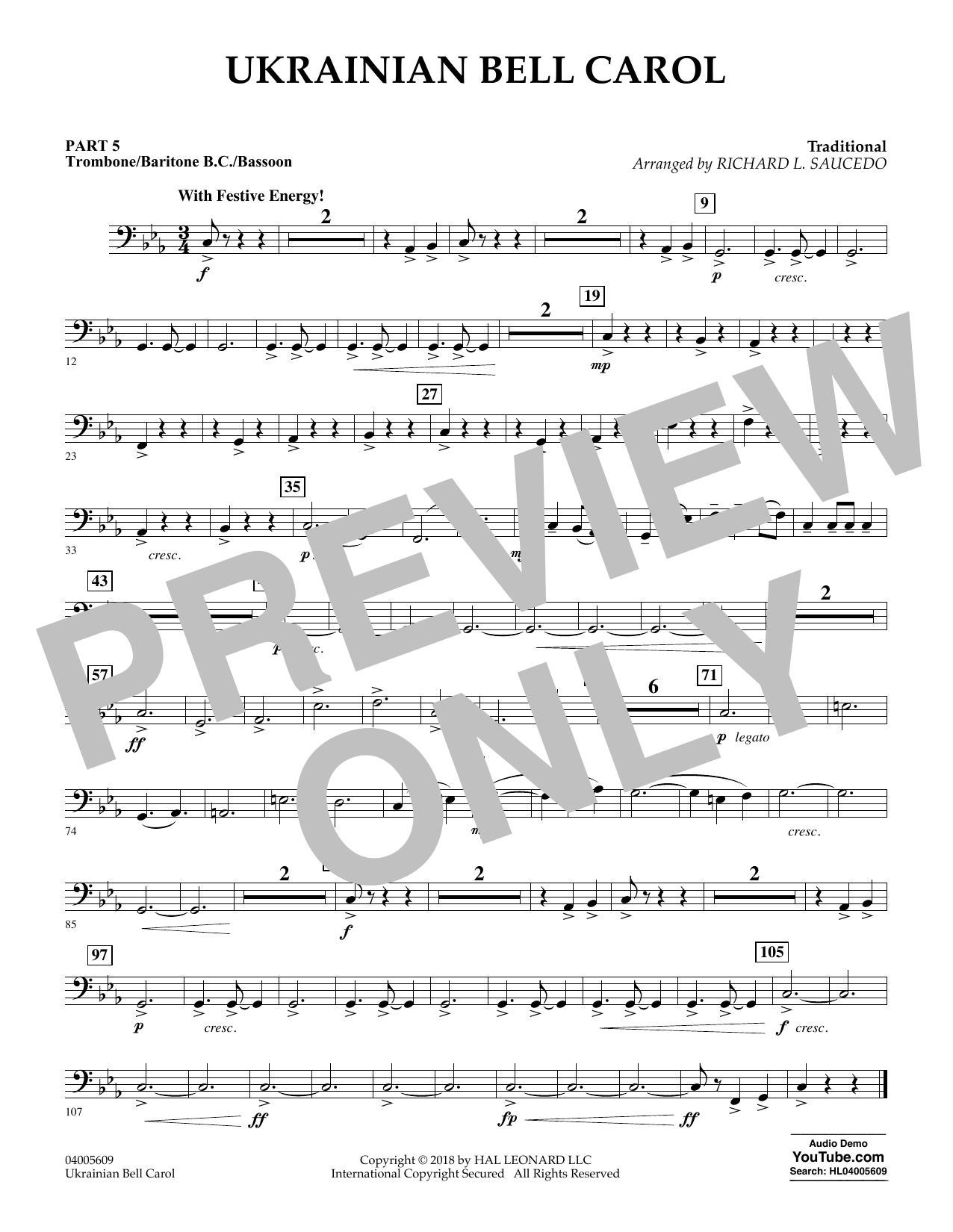 Ukrainian Bell Carol - Pt.5 - Trombone/Bar. B.C./Bsn. (Concert Band)