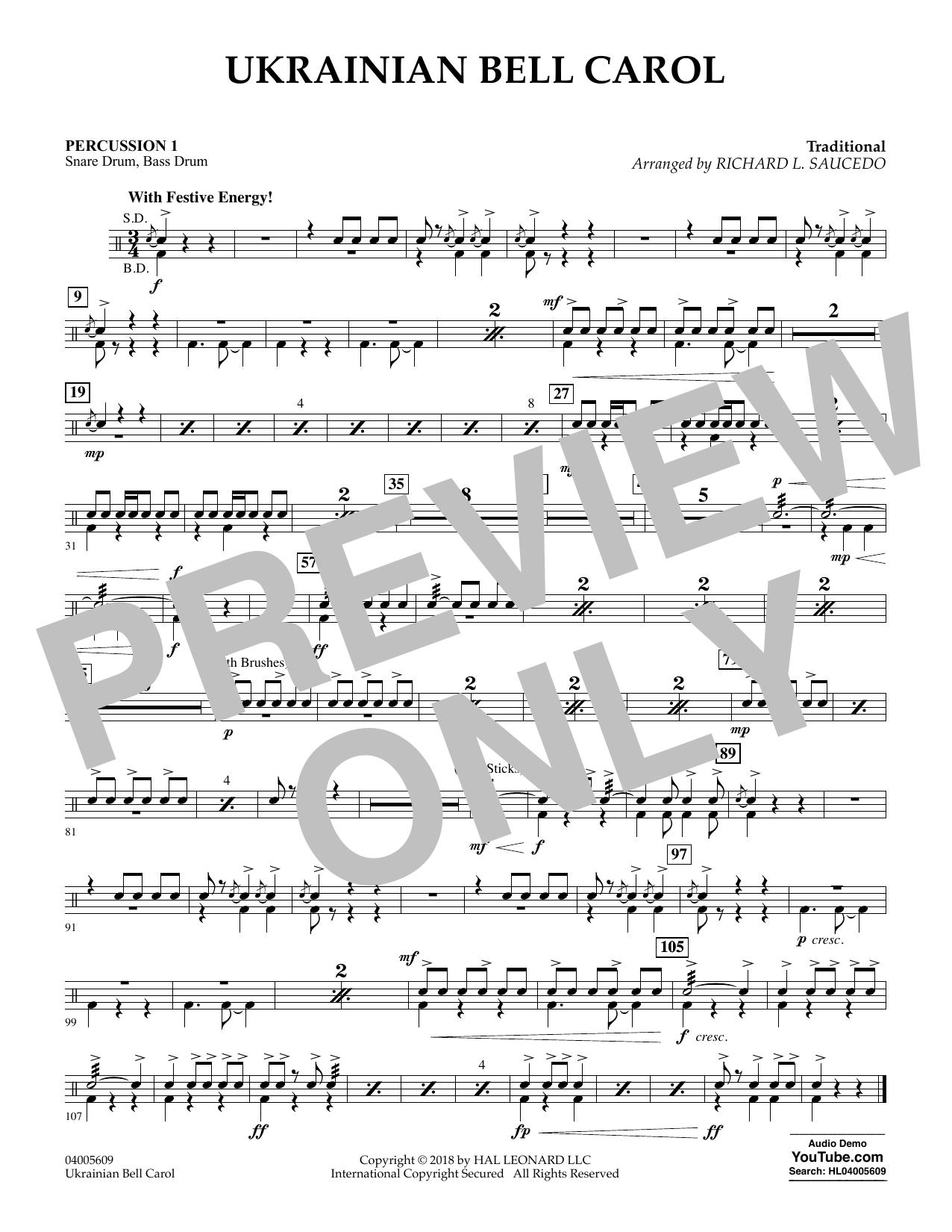 Ukrainian Bell Carol - Percussion 1 (Concert Band)