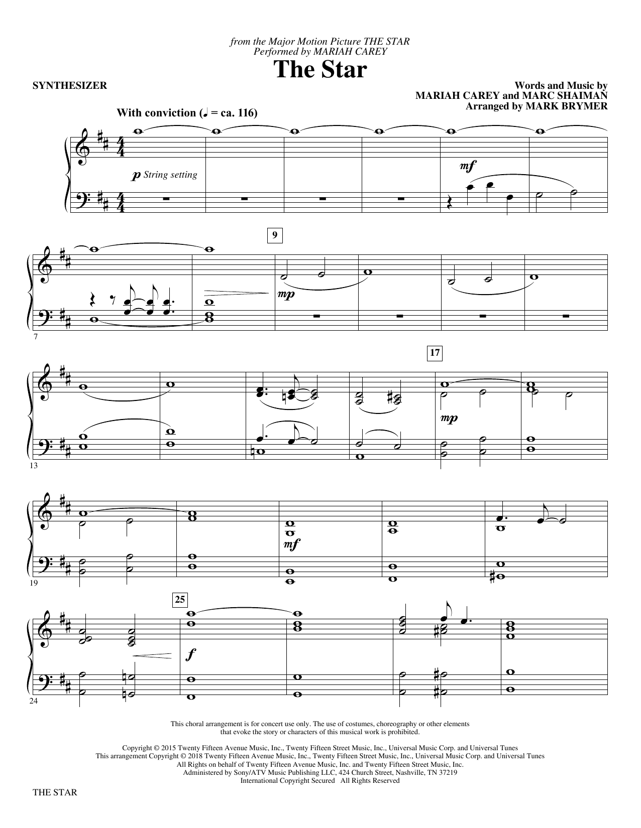 The Star (arr. Mark Brymer) - Synthesizer (Choir Instrumental Pak)