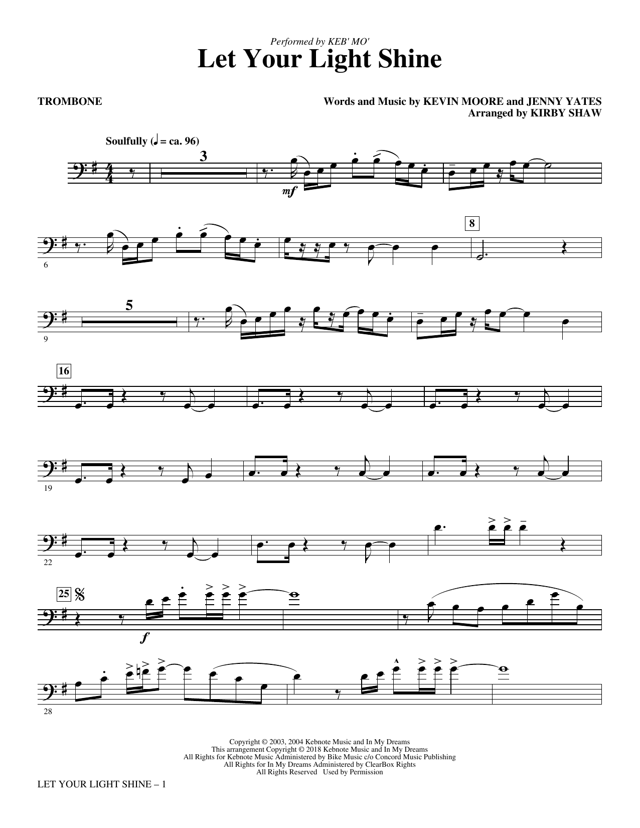 Let Your Light Shine (arr. Kirby Shaw) - Trombone (Choir Instrumental Pak)