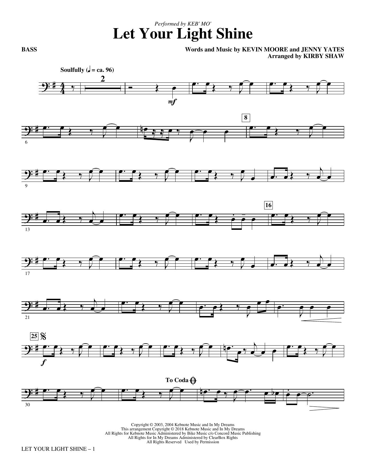 Let Your Light Shine (arr. Kirby Shaw) - Bass (Choir Instrumental Pak)