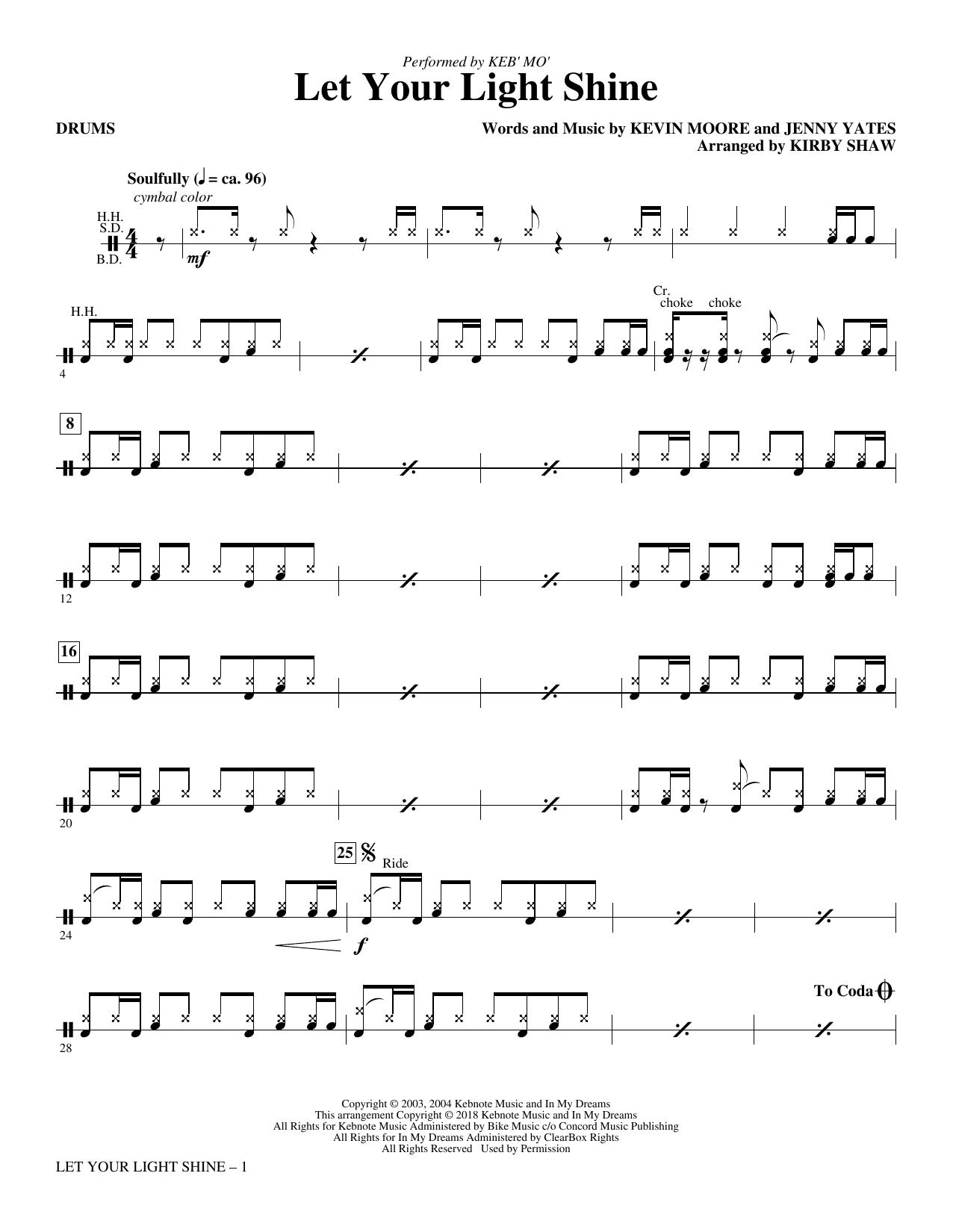 Let Your Light Shine (arr. Kirby Shaw) - Drums (Choir Instrumental Pak)